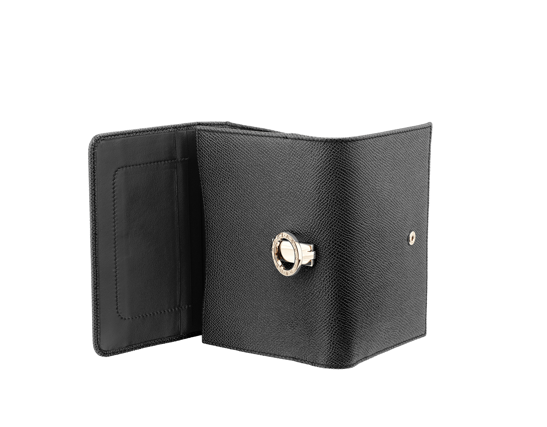 Compact pochette in black bright grain calf leather and black nappa lining. Brass light gold plated hardware and iconic Bulgari Bulgari closure clip. 280555 image 3
