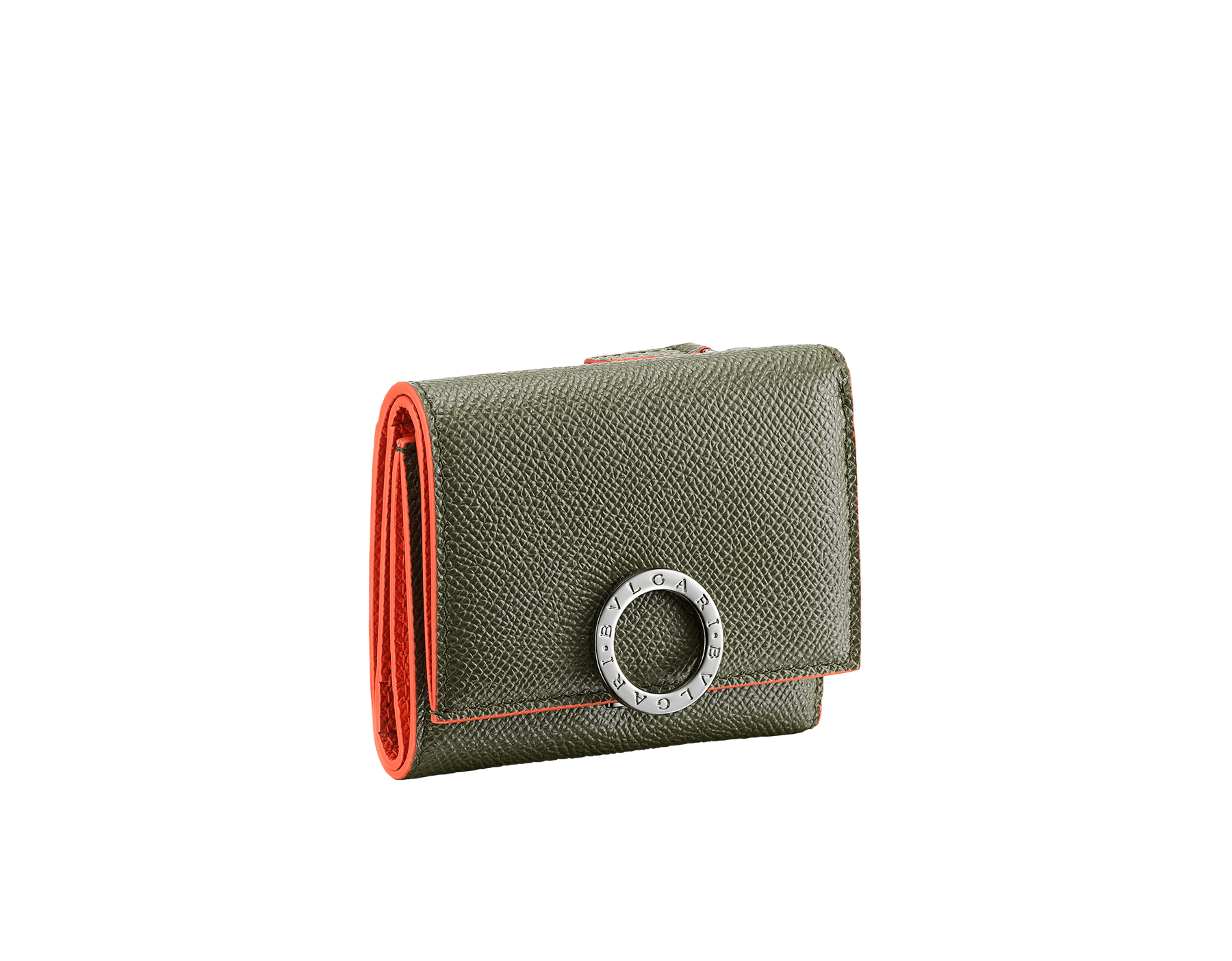 BVLGARI BVLGARI slim compact wallet in denim sapphire and daisy topaz grain calf leather. Iconic logo closure clip in palladium-plated brass. BCM-SLIMCOMPACTb image 1