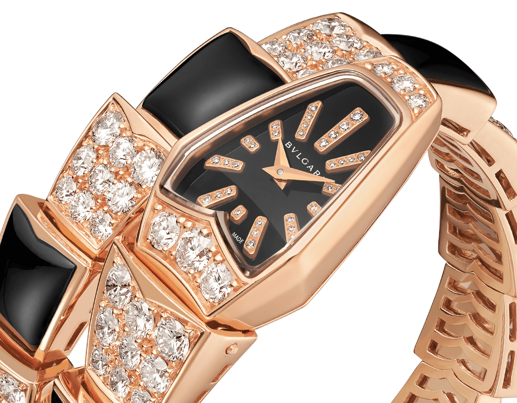Serpenti Jewellery Watch with 18 kt rose gold case set with brilliant cut diamonds, black sapphire crystal dial, diamond indexes and 18 kt rose gold single spiral bracelet set with brilliant cut diamonds and black onyx. 101790 image 2