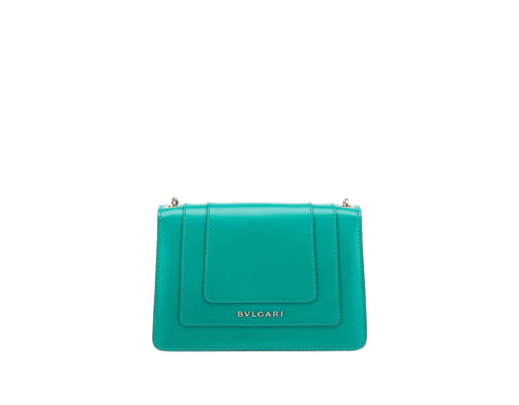 Serpenti Forever mini crossbody bag in tropical tourquoise calf leather. Brass light gold plated snake head closure in black and white enamel, with green malachite eyes. 288043 image 3