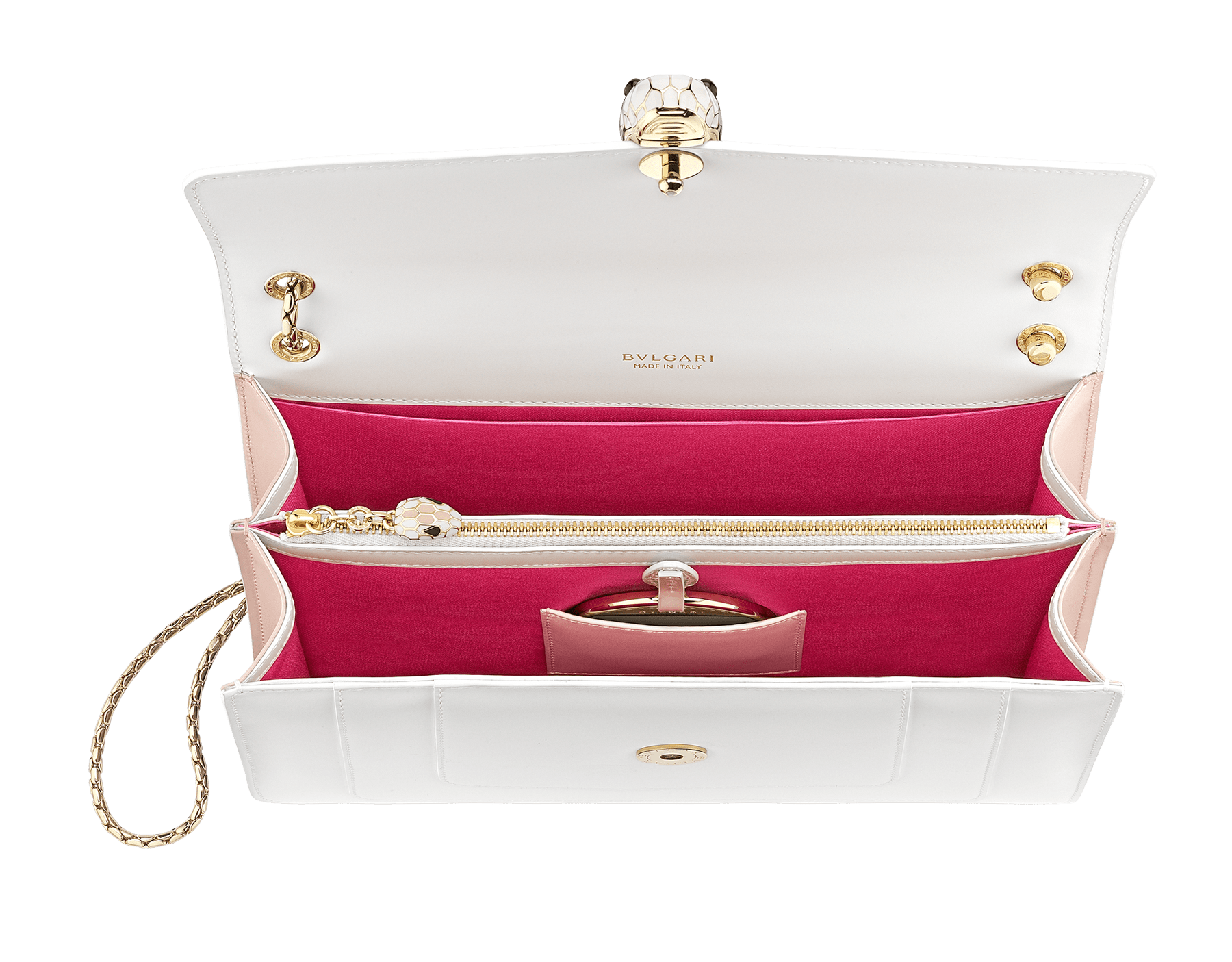 """Serpenti Forever"" shoulder bag in white calf leather body and crystal rose calf leather sides. Iconic snake head closure in light gold-plated brass enriched with white and crystal rose enamel and black onyx eyes. 290196 image 4"