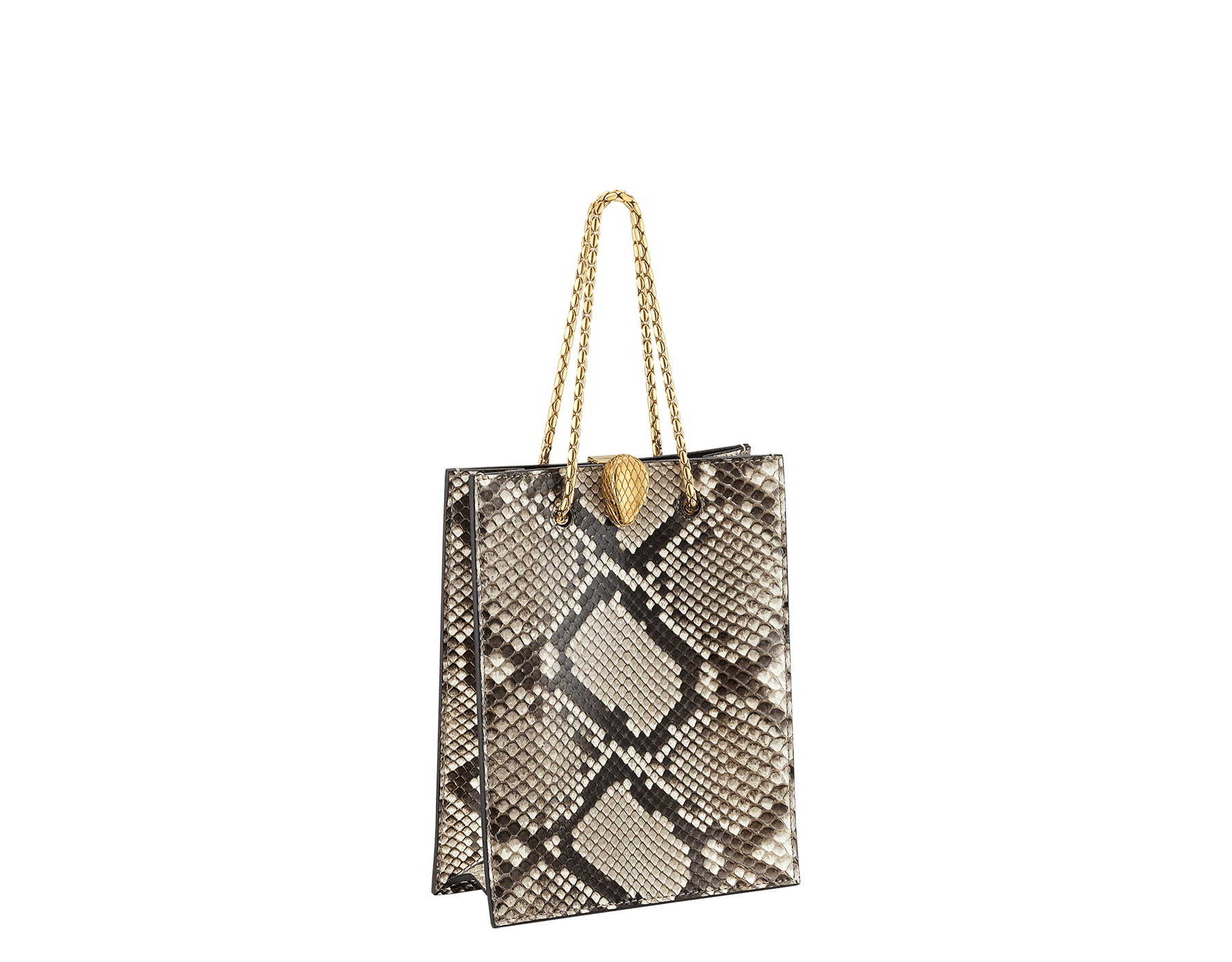 Alexander Wang x Bvlgari mini shopping tote bag in natural python skin and black calf leather. New Serpenti head closure in antique gold plated brass with tempting red enamel eyes. Limited edition. 288732 image 2