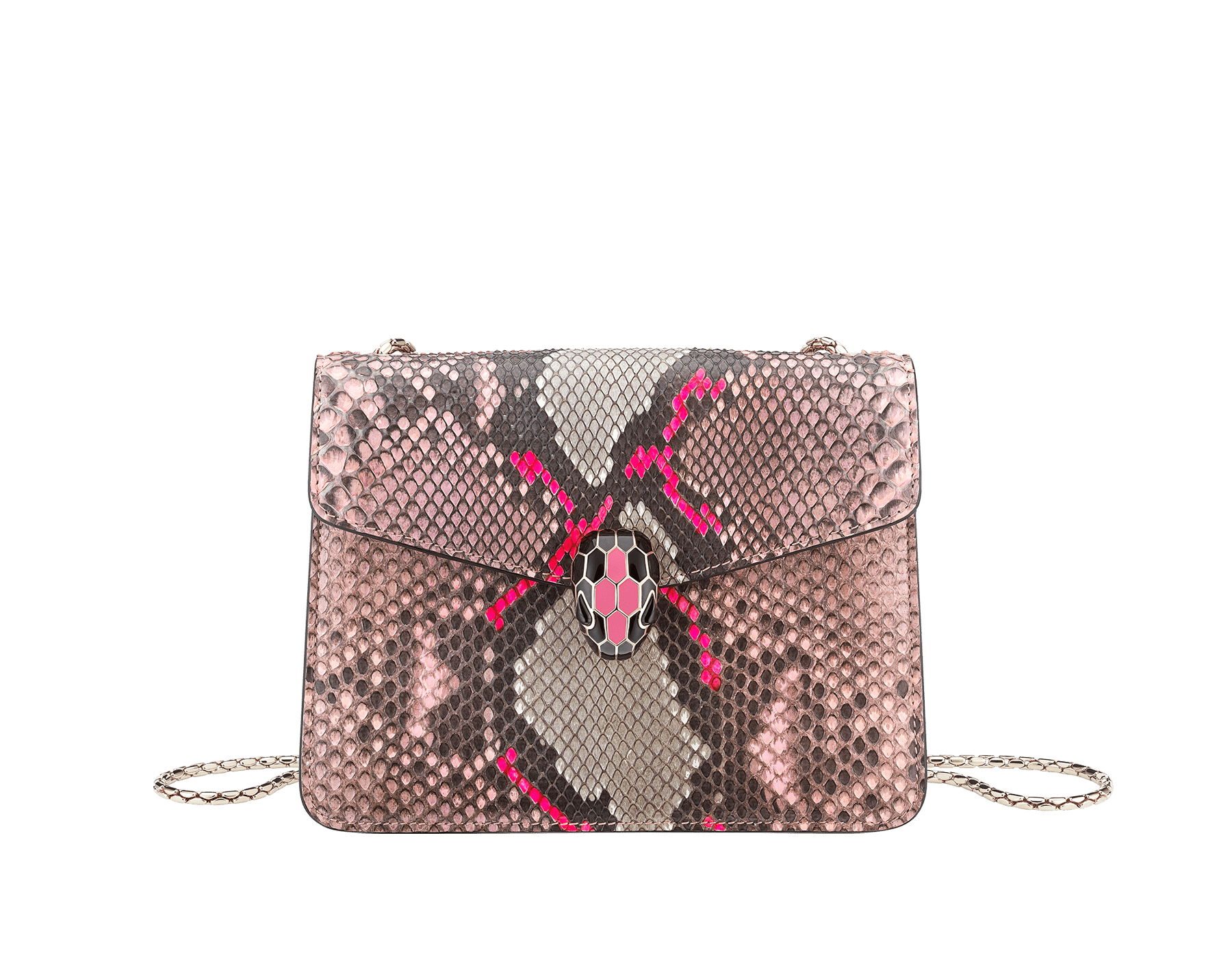 """Serpenti Forever"" crossbody bag in silky coral and flash amethyst Neon python skin. Iconic snake head closure in light gold plated brass enriched with black and flash amethyst enamel and black onyx eyes. 288953 image 2"