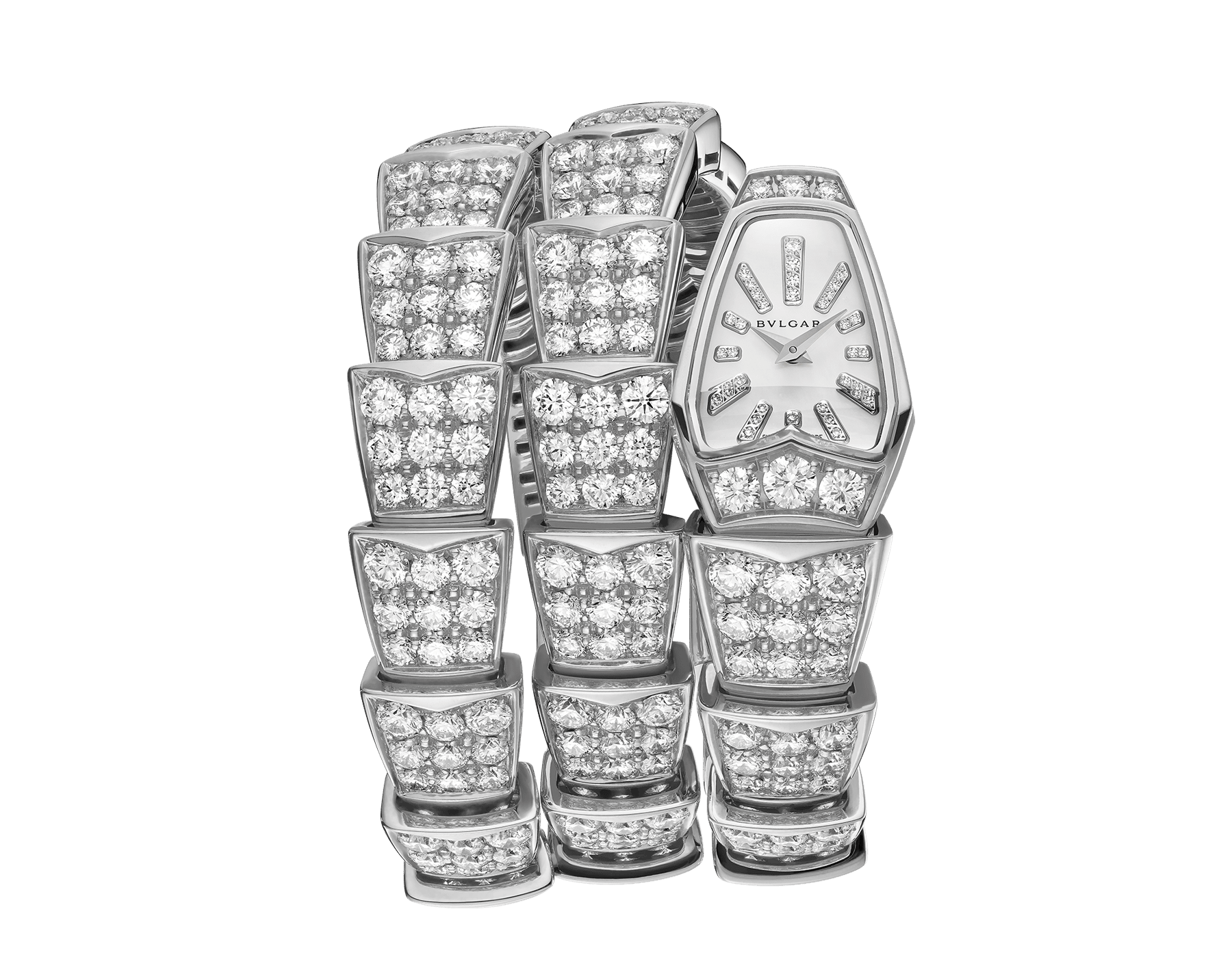 Serpenti Jewellery Watch in 18 kt white gold case and double spiral bracelet, both set with brilliant cut diamonds, white mother-of-pearl dial and diamond indexes. 101786 image 1