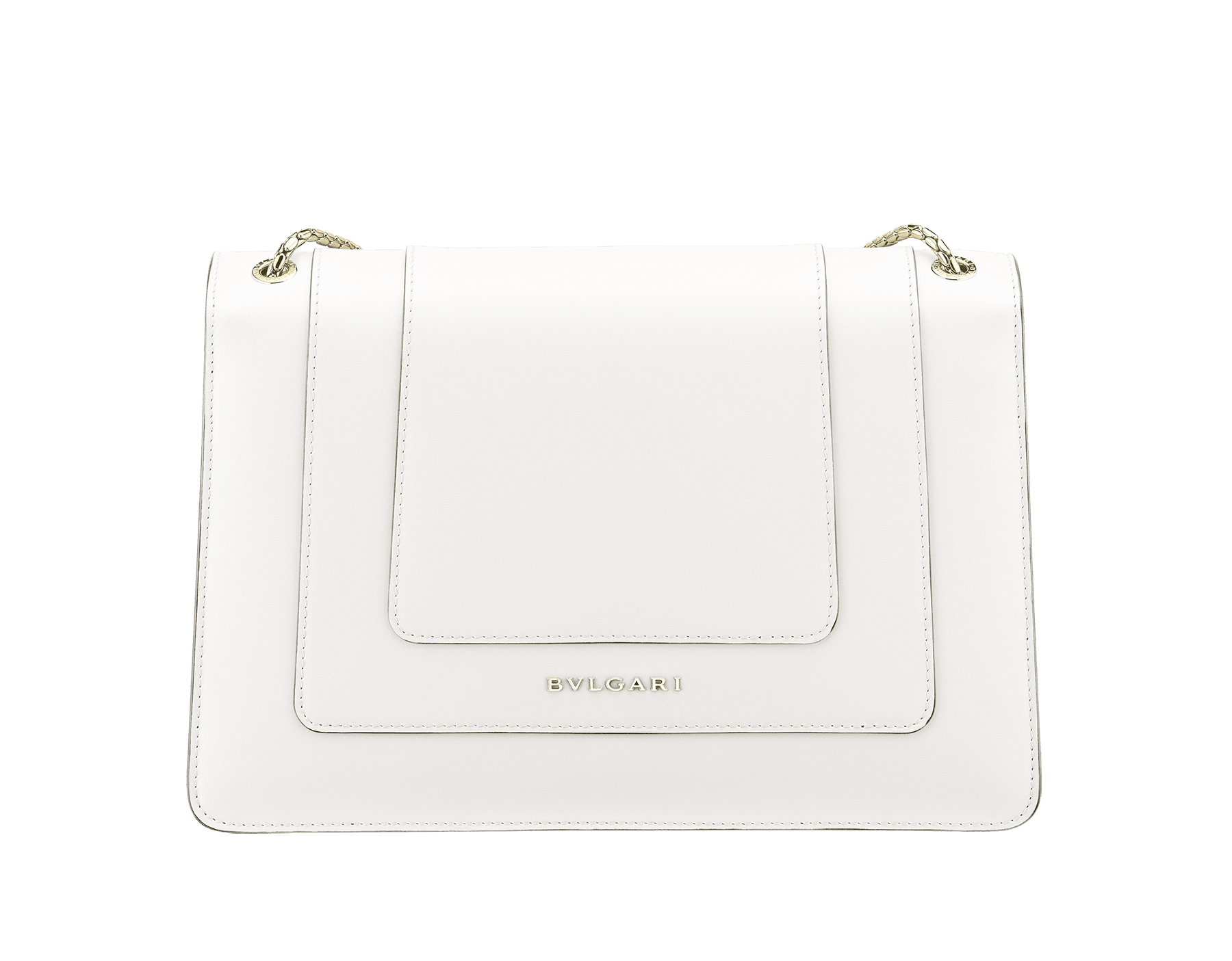 Flap cover bag Serpenti Forever in white agate calf leather. Brass light gold plated snake head closure in black and white enamel with eyes in green malachite. 283170 image 3