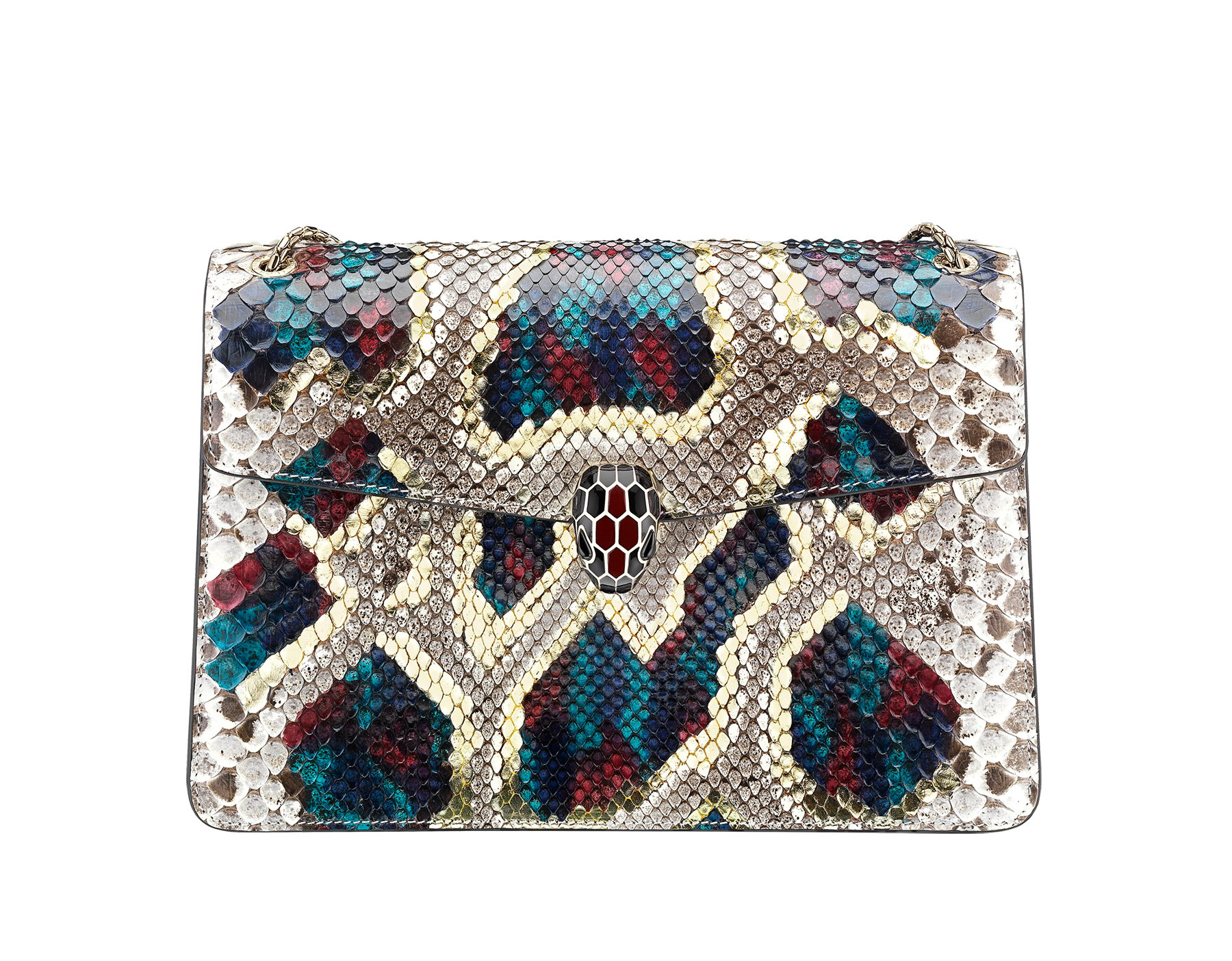"""Serpenti Forever"" shoulder bag in white agate Lunar python skin. Iconic snakehead closure in light gold plated brass enriched with black and roman garnet enamel and black onyx eyes. 288133 image 1"