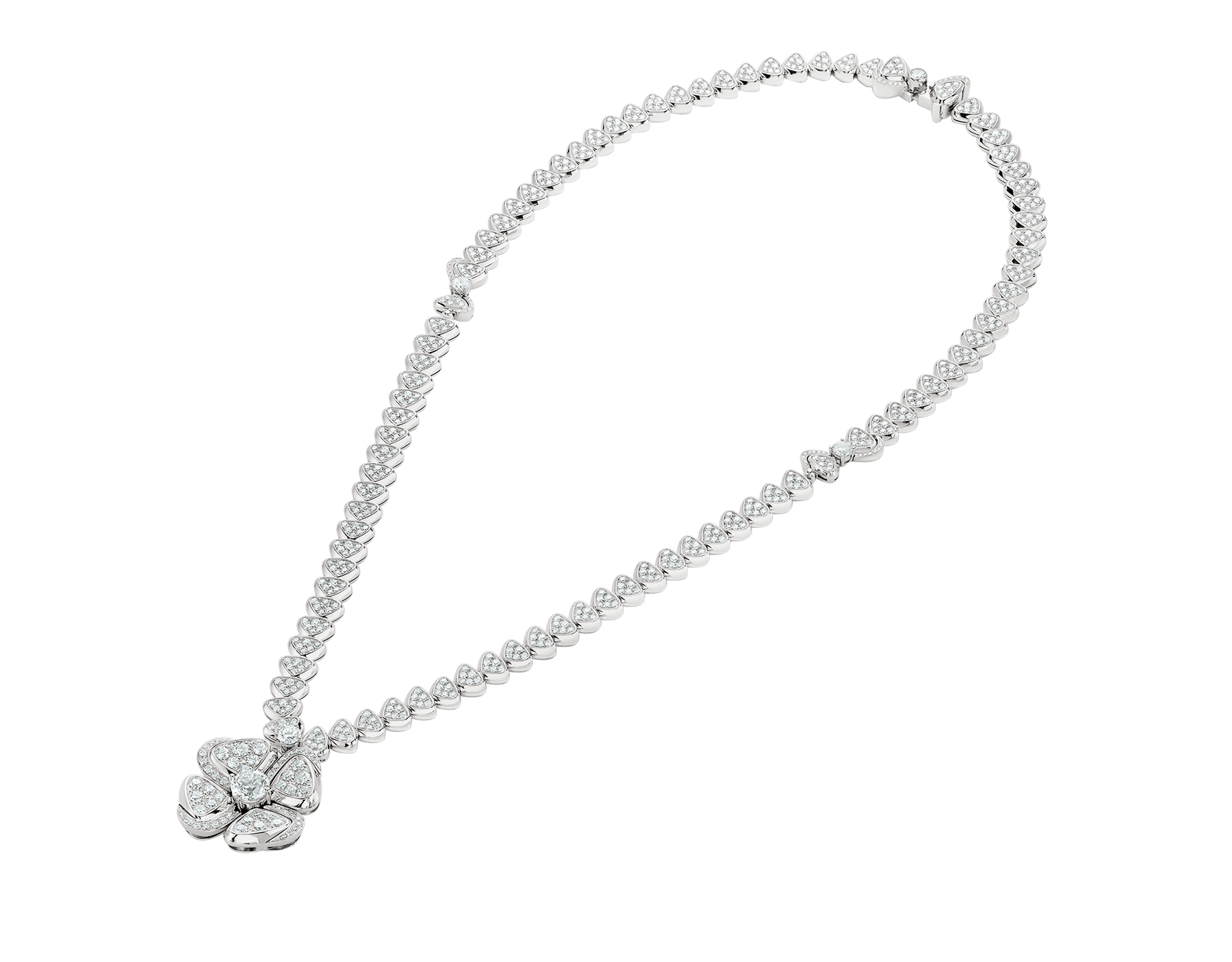 Fiorever 18 kt white gold necklace set with a central diamond (0.70 ct) and pavé diamonds 357377 image 2