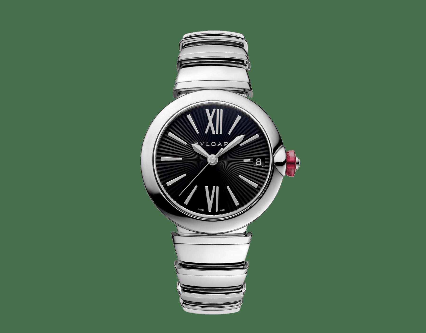 Reloj LVCEA con caja y brazalete en acero inoxidable y esfera negra. 102688 image 1