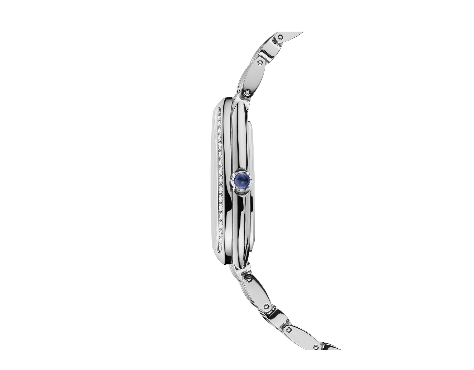 Serpenti Seduttori watch with 18 kt white gold case, 18 kt white gold bracelet, 18 kt white gold bezel set with diamonds and a white silver opaline dial. 103148 image 3