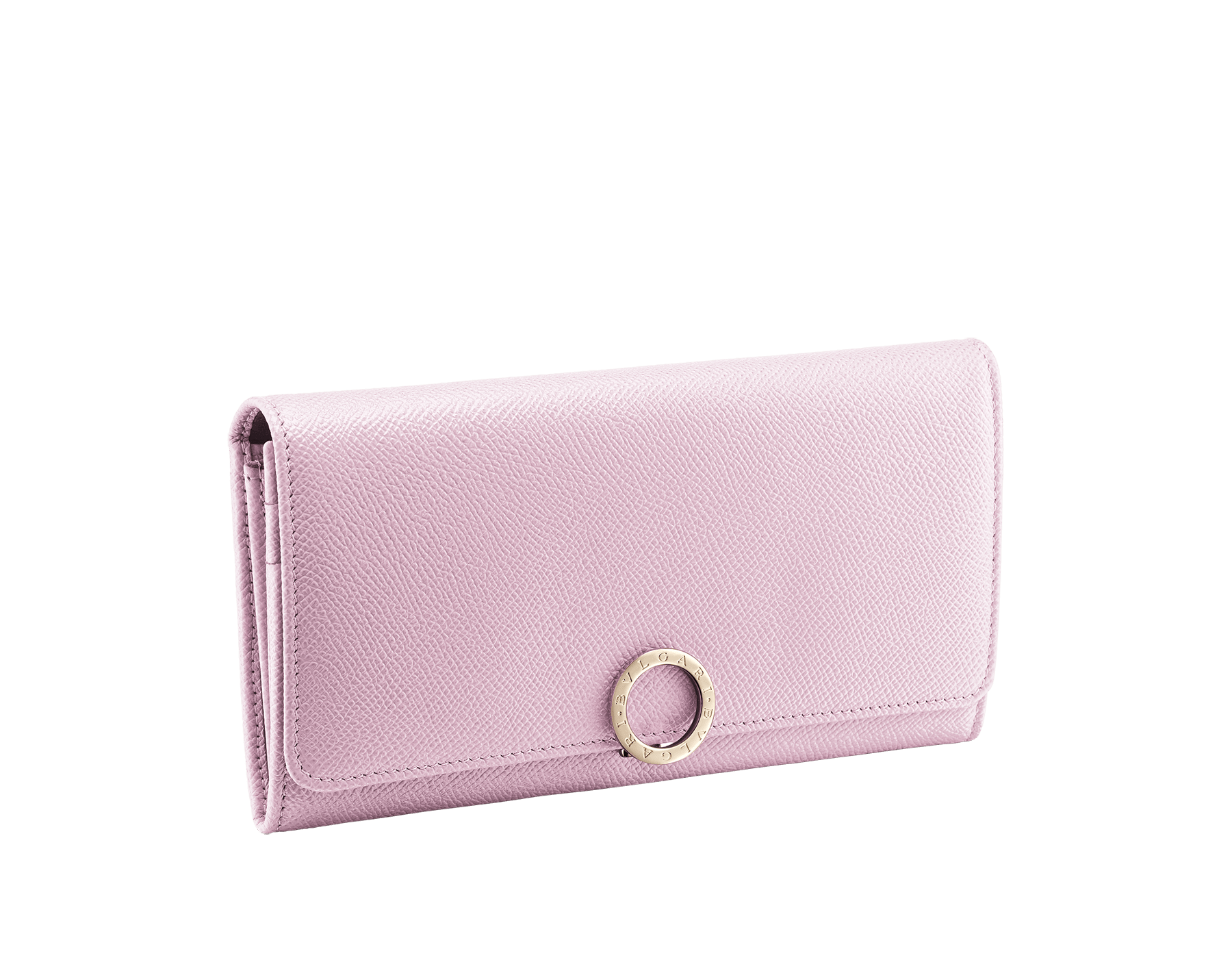 """BVLGARI BVLGARI"" large wallet in Lavender Amethyst lilac bright grained calf leather and peach nappa leather. Iconic logo closure clip in light gold-plated brass. 579-WLT-POCHE-16CCc image 1"