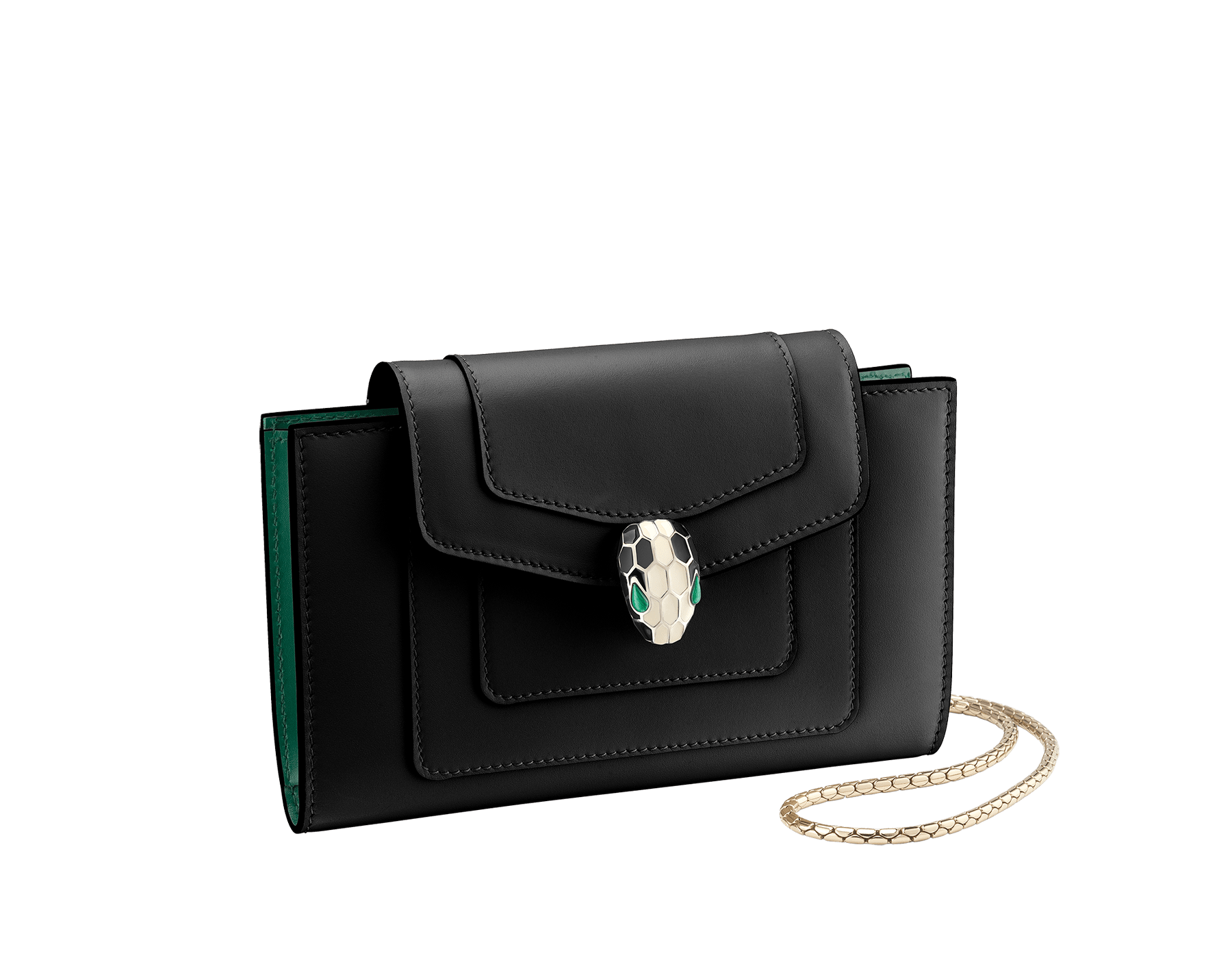 Techno-hybrid Serpenti Forever in flamingo quartz calf leather, with roman garnet calf leather lining. Brass light gold plated Serpenti head stud closure in black and white enamel, with green enamel eyes. SEA-TECHNO-HYBRIDb image 1