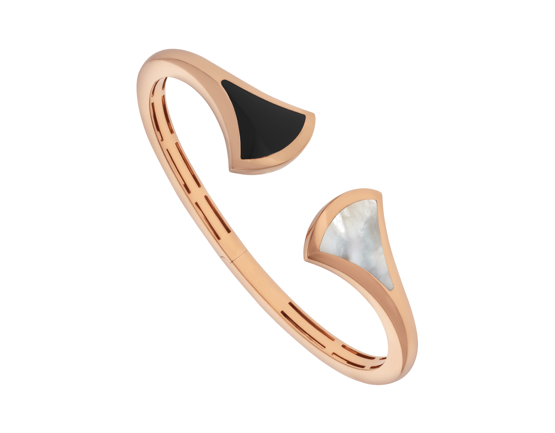 DIVAS' DREAM cuff bracelet in 18 kt rose gold, set with mother-of-pearl and onyx elements. BR857323 image 1
