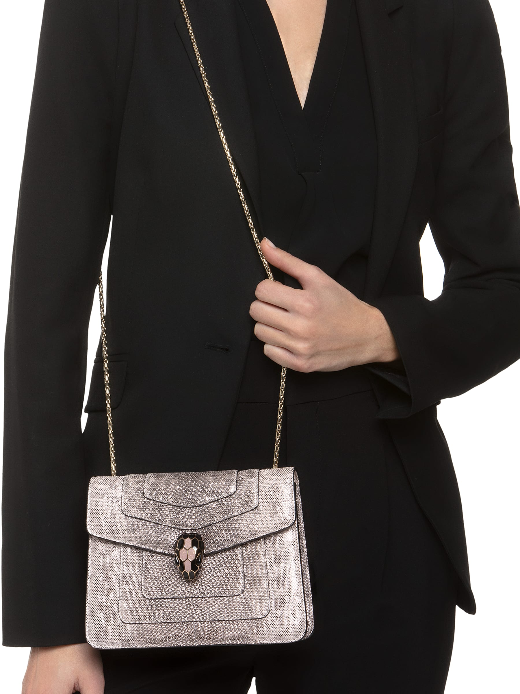 """""""Serpenti Forever"""" crossbody bag in crystal rose metallic karung skin. Iconic snakehead closure in light gold plated brass enriched with glitter rose gold and shiny black enamel and black onyx eyes 287087 image 2"""