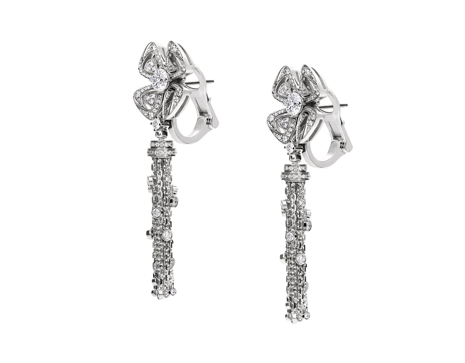 Fiorever 18 kt white gold earrings set with two central diamonds (0.30 ct each) and pavé diamonds (1.05 ct) 354528 image 2