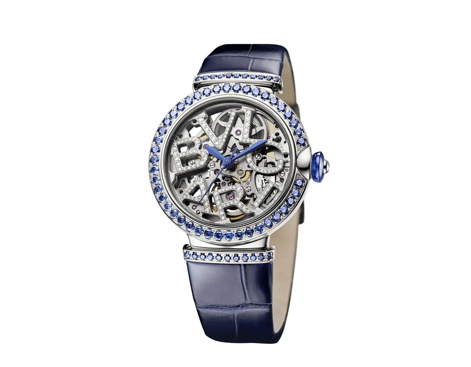 LVCEA Skeleton watch with mechanical movement, automatic winding and skeleton execution, 18 kt white gold case and links set with round brilliant-cut sapphires, 18 kt white gold openwork BVLGARI logo dial set with round brilliant-cut diamonds, blue lacquered hands and blue alligator bracelet 103091 image 2