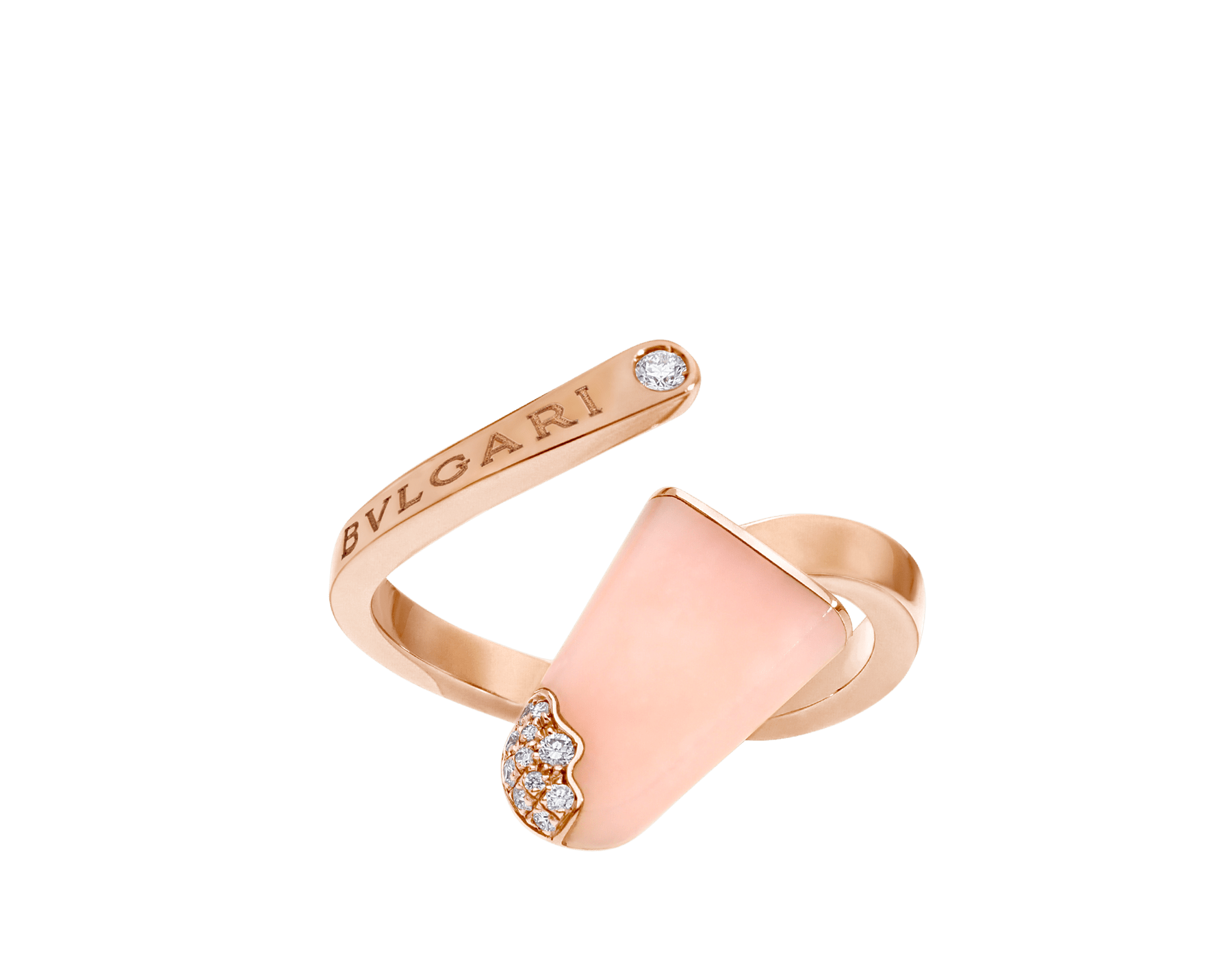 BVLGARI BVLGARI 18 kt rose gold ring set with pink opal and pavé diamonds AN858657 image 1
