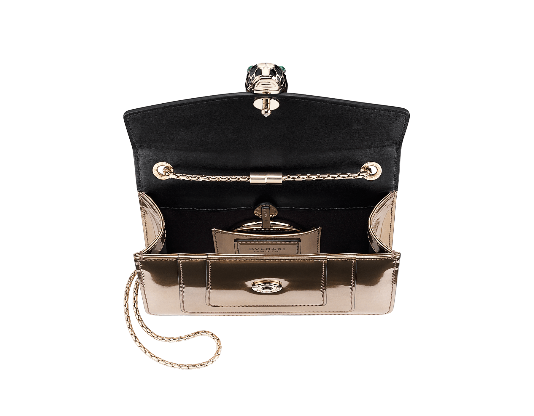 Flap cover bag Serpenti Forever in antique bronze brushed metallic calf leather with brass light gold plated Serpenti head closure in black and white enamel with eyes in green malachite. 39485 image 3