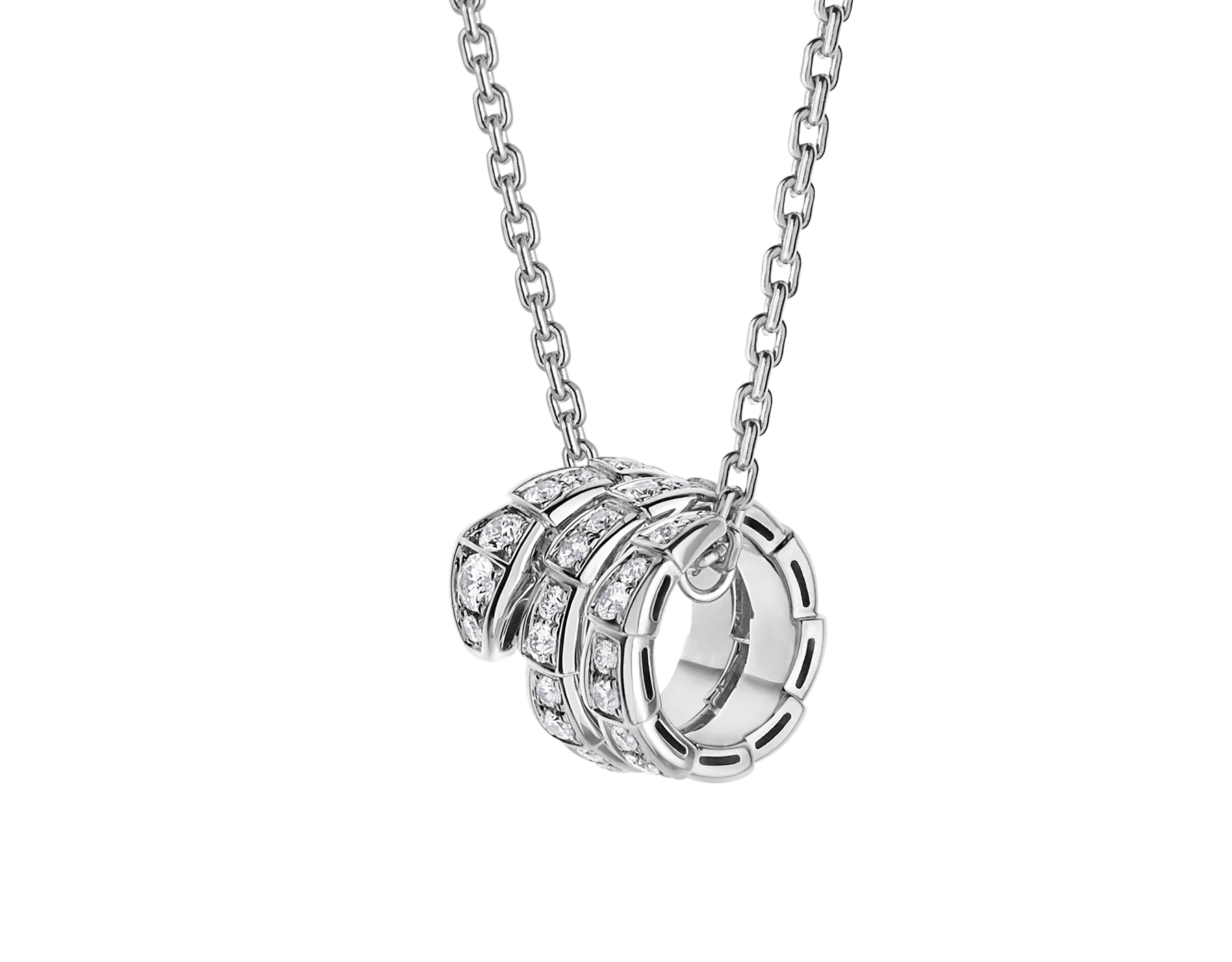 Serpenti Viper pendant necklace in 18 kt white gold set with pavé diamonds 357796 image 1