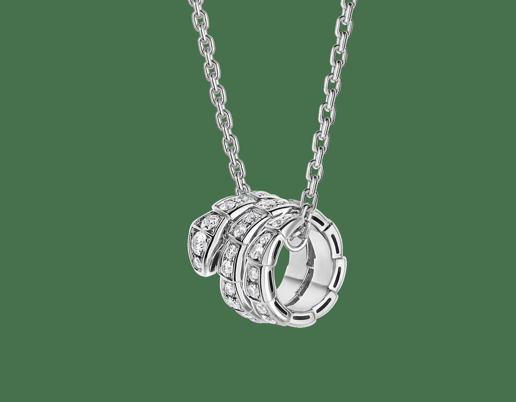 Collana con pendente Serpenti Viper in oro bianco 18 kt con pavé di diamanti. 357796 image 1