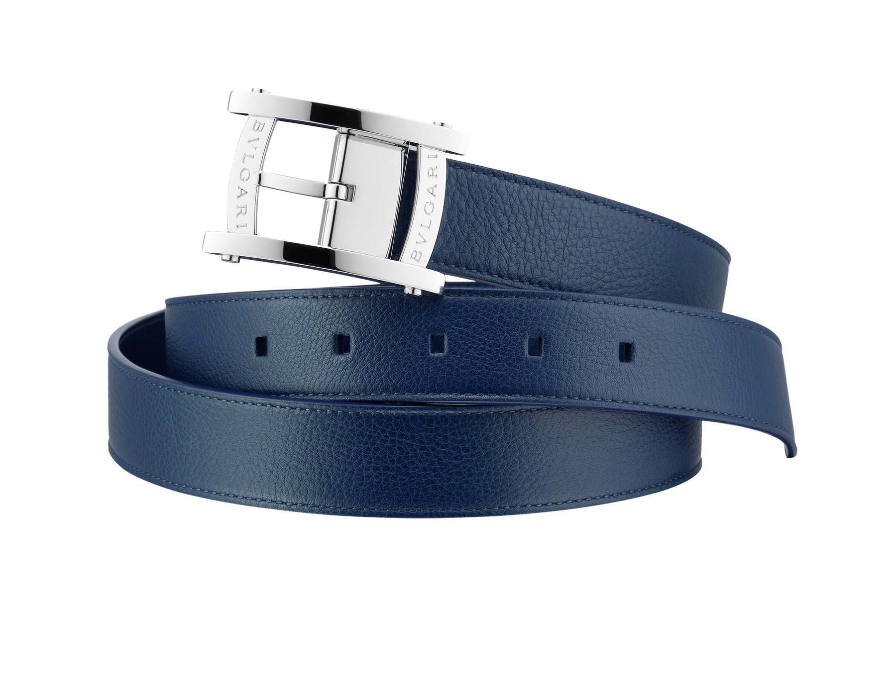 Reversible man belt in denim sapphire casual grain calf leather and calf leather, with brass palladium plated hardware. Sport buckle inspired by the bezel of the Assioma man watch. 39963 image 1