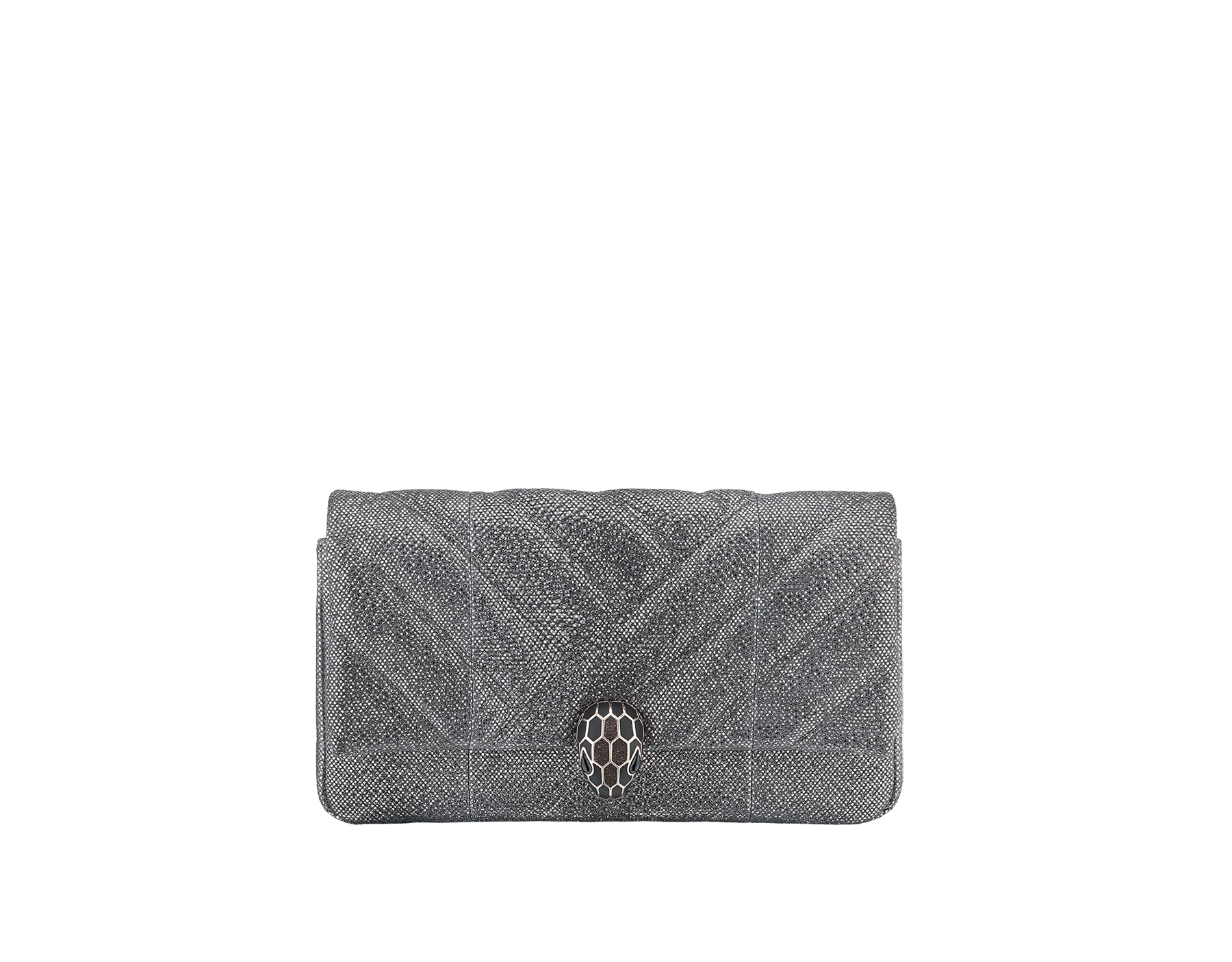 Serpenti Cabochon clutch bag in milky opal metallic karung skin, with a graphic motif. Brass light gold plated tempting snake head closure in black and glitter milky opal enamel and black onyx eyes. 1025-MK image 1