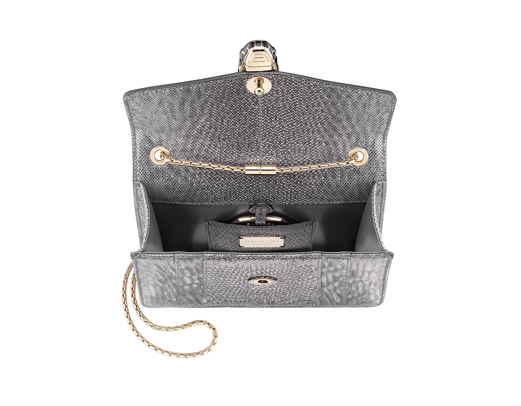 Serpenti Forever crossbody bag in charcoal diamond metallic karung skin. Snakehead closure in light gold plated brass decorated with glitter charcoal diamond and shiny black enamel, and black onyx eyes. 287939 image 4