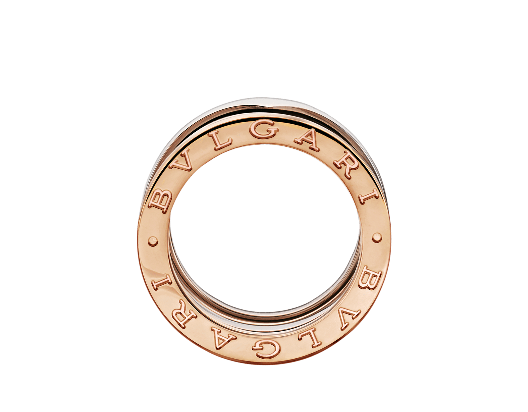 B.zero1 ring in 18 kt rose and white gold. B-zero1-4-bands-AN858217 image 2