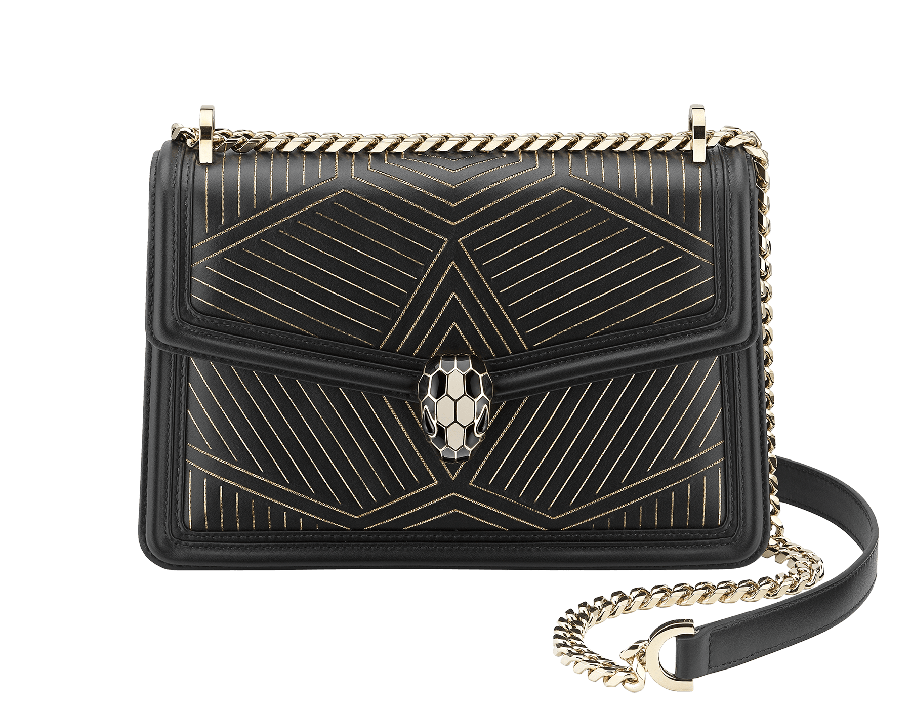 """Serpenti Diamond Blast"" shoulder bag in black smooth calf leather, featuring a Whispy Chain motif in light gold finishing. Iconic snake head closure in light gold plated brass enriched with black and white enamel and black onyx eyes. 288983 image 2"