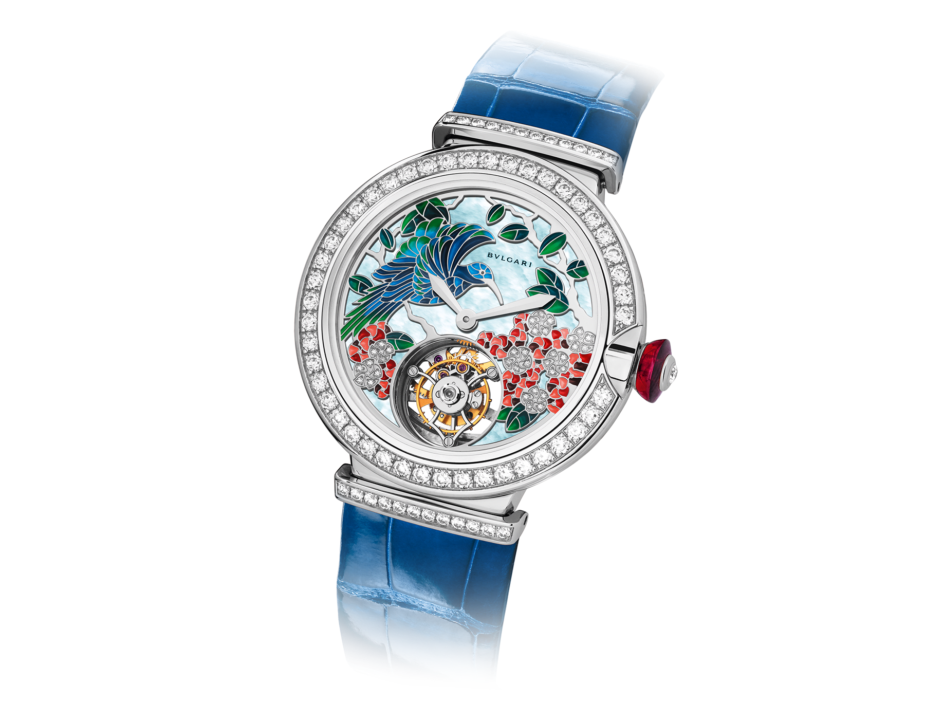 LVCEA Tourbillon with mechanical manufacture movement, automatic winding, see-through tourbillon and sapphire bridge. 18 kt white gold case set with brilliant-cut diamonds, metiers d'art peinture miniature motifs dial set with diamonds and blue alligator bracelet. 102579 image 2