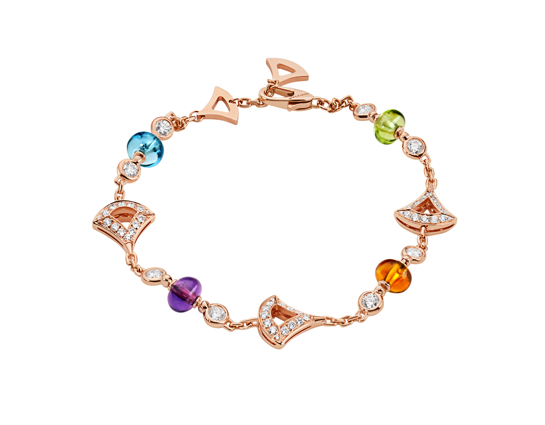 DIVAS' DREAM 18 kt rose gold bracelet set with coloured gemstones and pavé diamonds BR858399 image 1