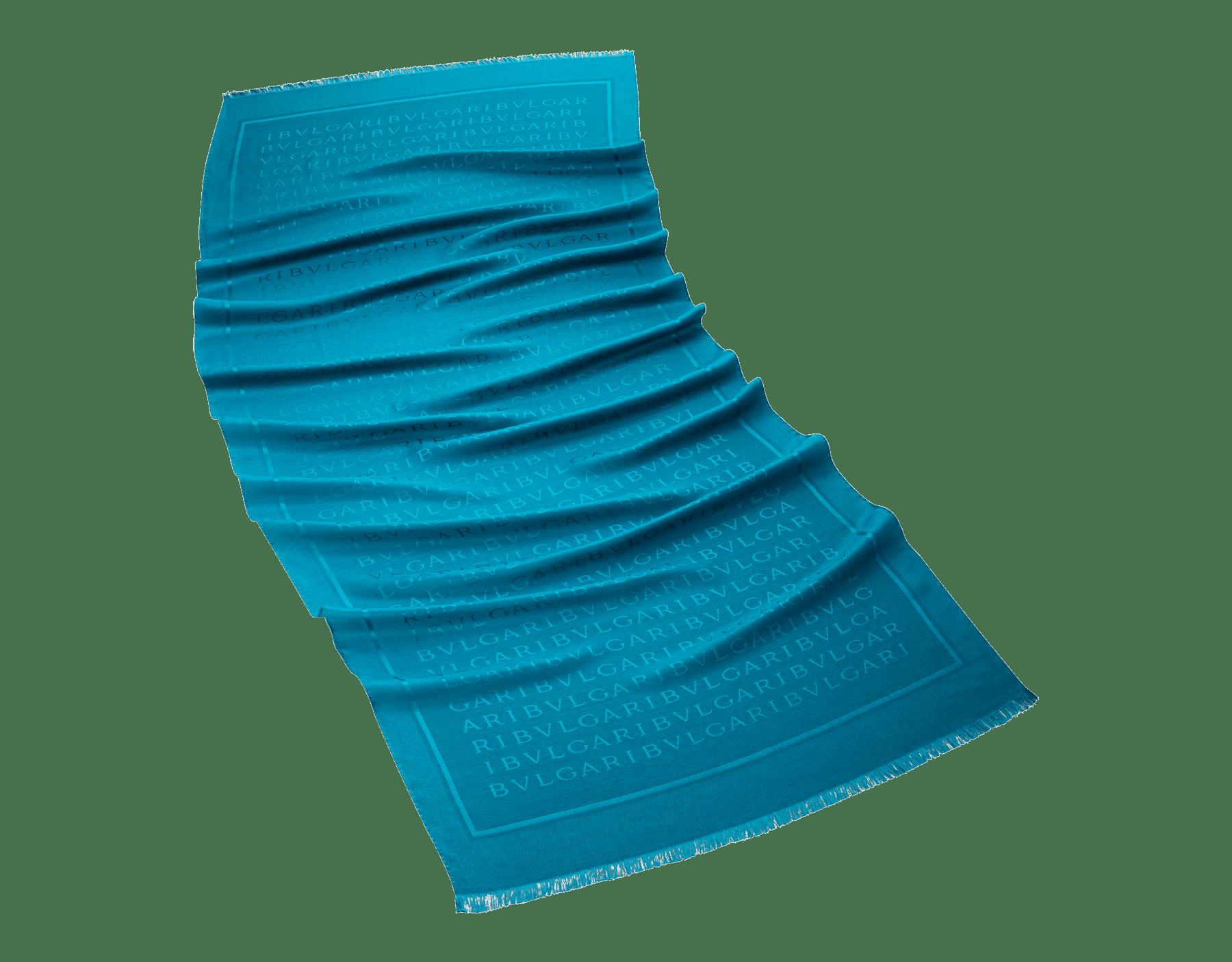Estola Lettere Maxi turquesa-tropical em fina lã. 243806 image 1