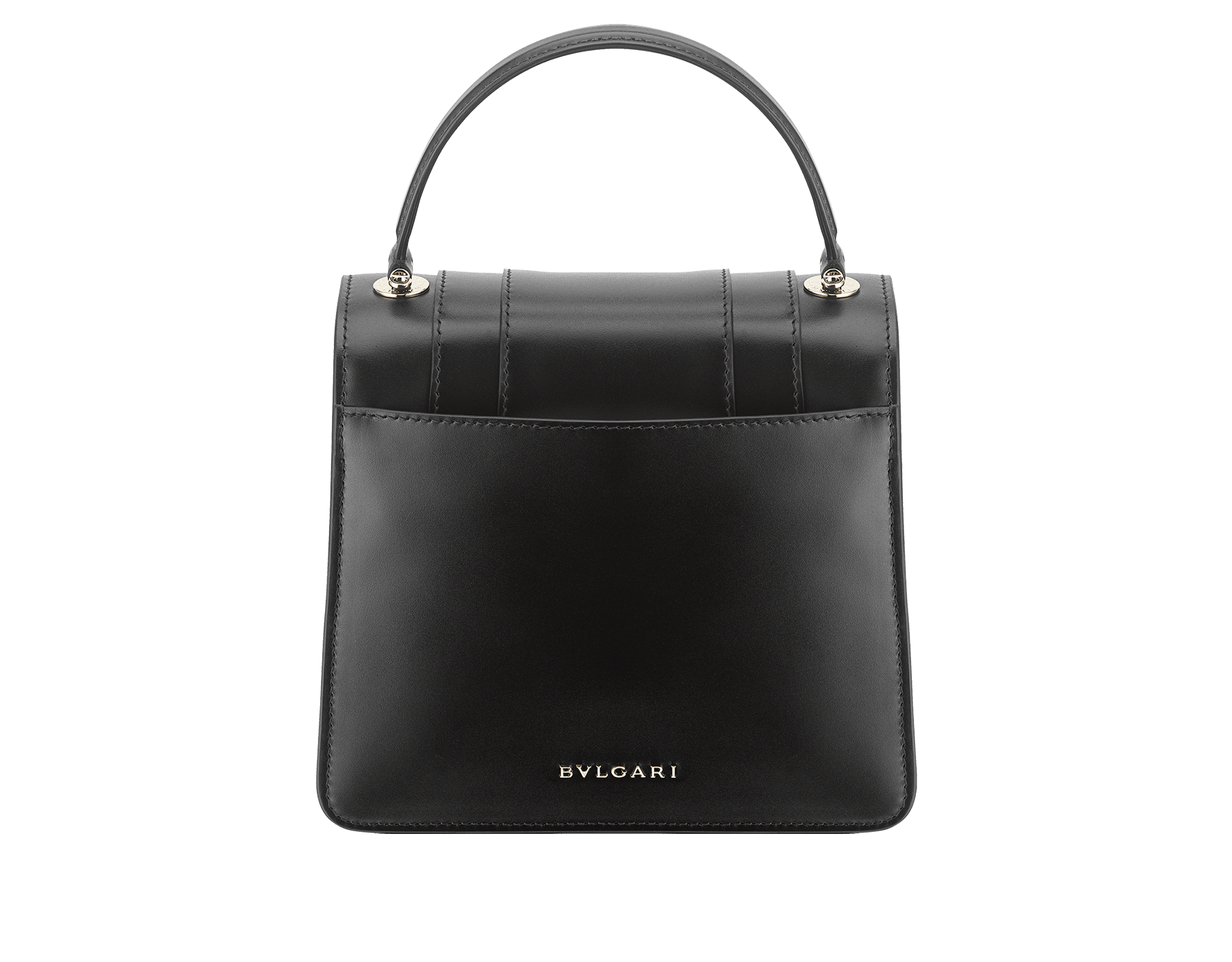 """""""Serpenti Forever"""" top-handle bag in black calfskin with emerald-green grosgrain inner lining. Iconic snakehead closure in light gold-plated brass embellished with black and agate-white enamel and green malachite eyes 1122-CLa image 3"""