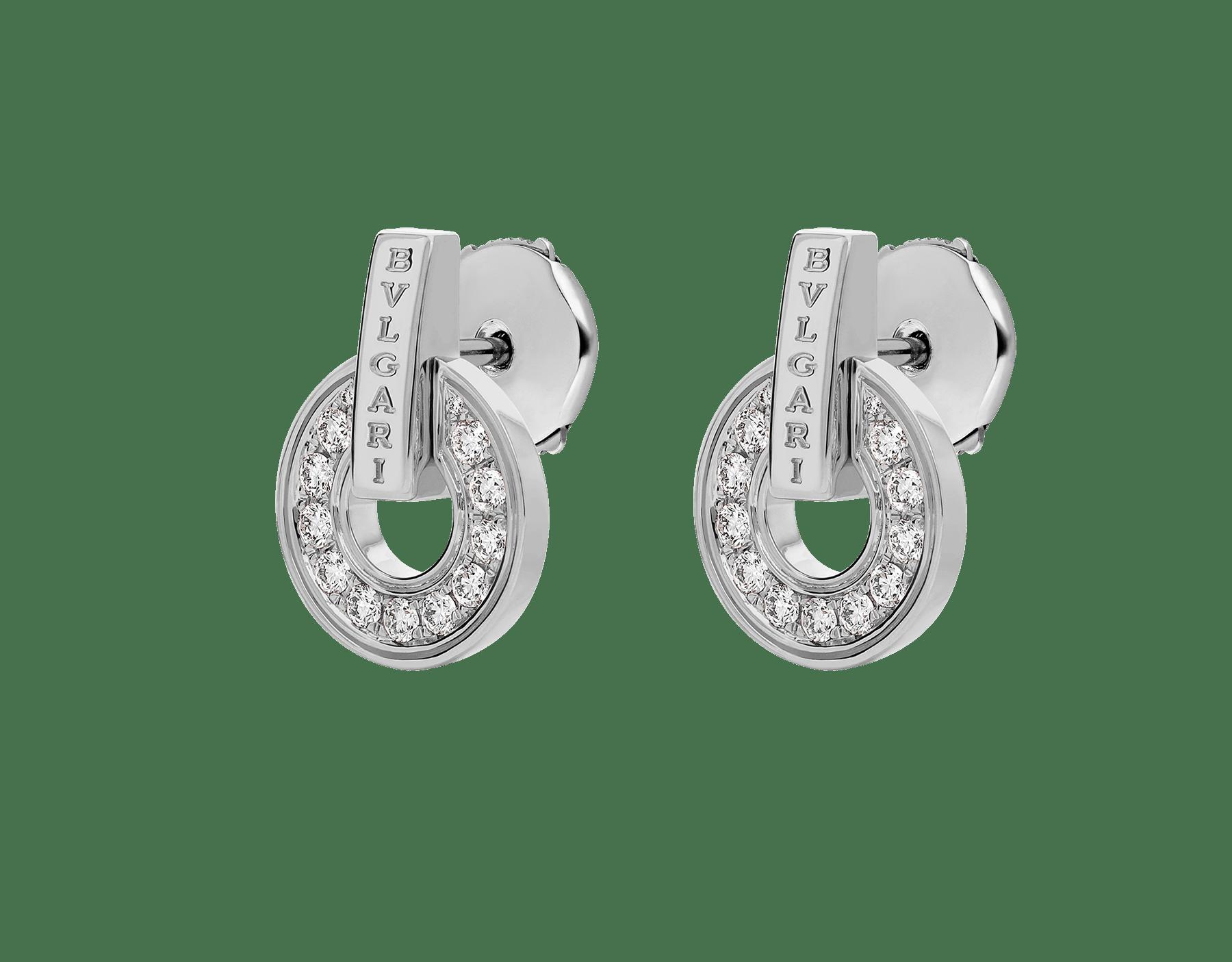 Boucles d'oreilles ajourées BVLGARIBVLGARI en or blanc 18K avec pavé diamants 357940 image 2