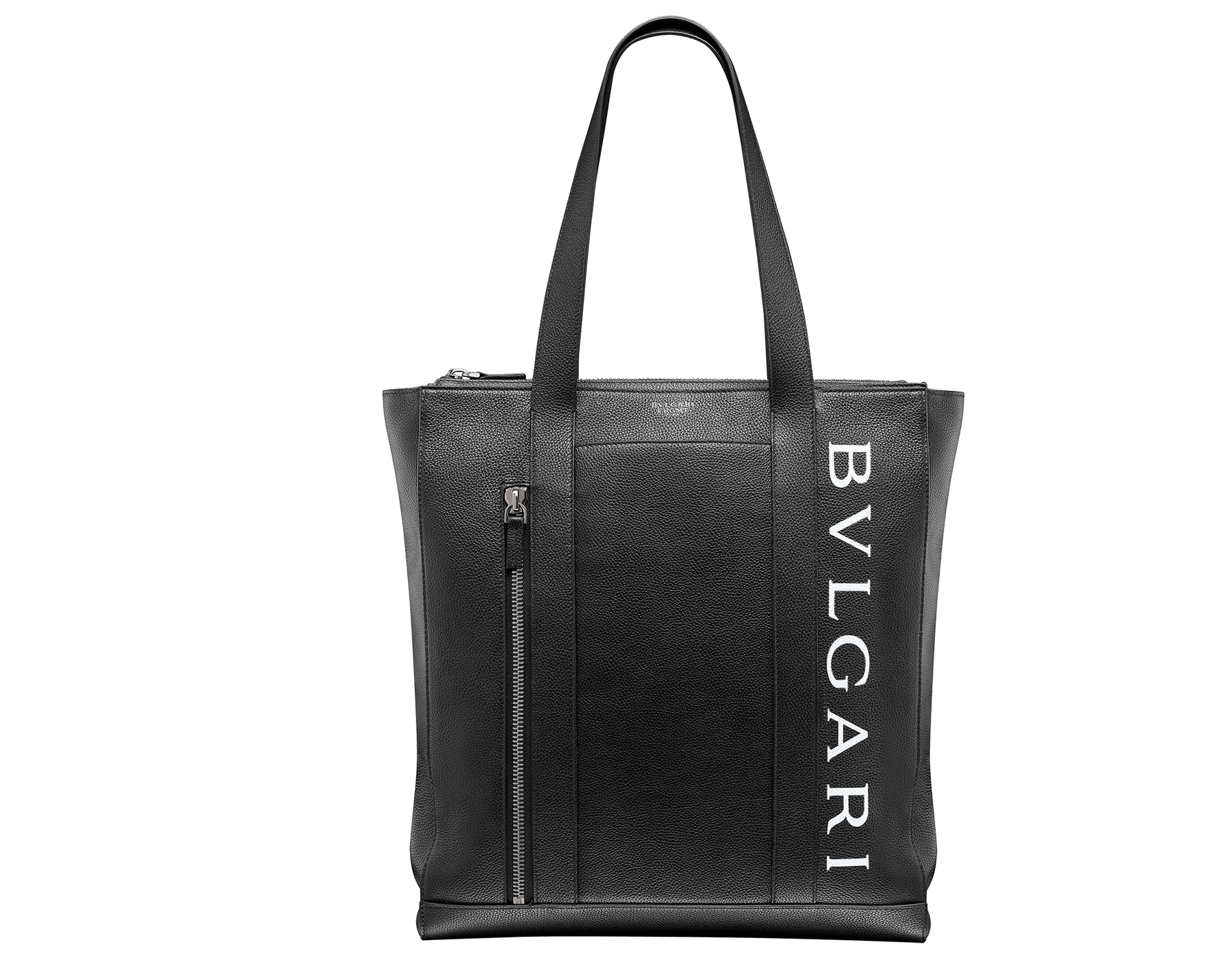 パラジウムプレートブラス製金具、「BVLGARI」と「FRAGMENT」のホワイトロゴプリントが付いたデニムサファイアのグレインカーフレザー製「FRAGMENT X BVLGARI by Hiroshi Fujiwara」縦長トートバッグ。 1114M-FUJI3rd image 1