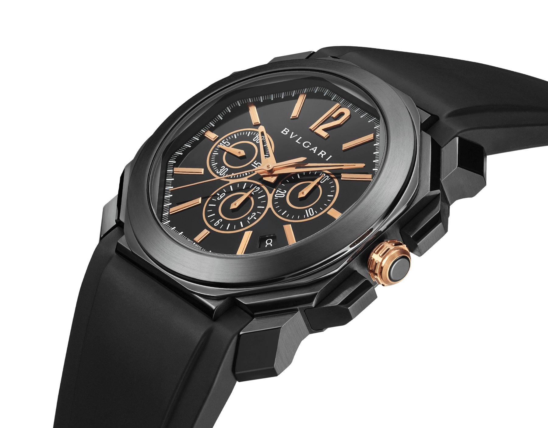 Octo watch with mechanical manufacture movement, high-frequency chronograph, automatic winding and date, stainless steel case treated with black Diamond Like Carbon, black lacquered dial and black rubber bracelet. 102630 image 2