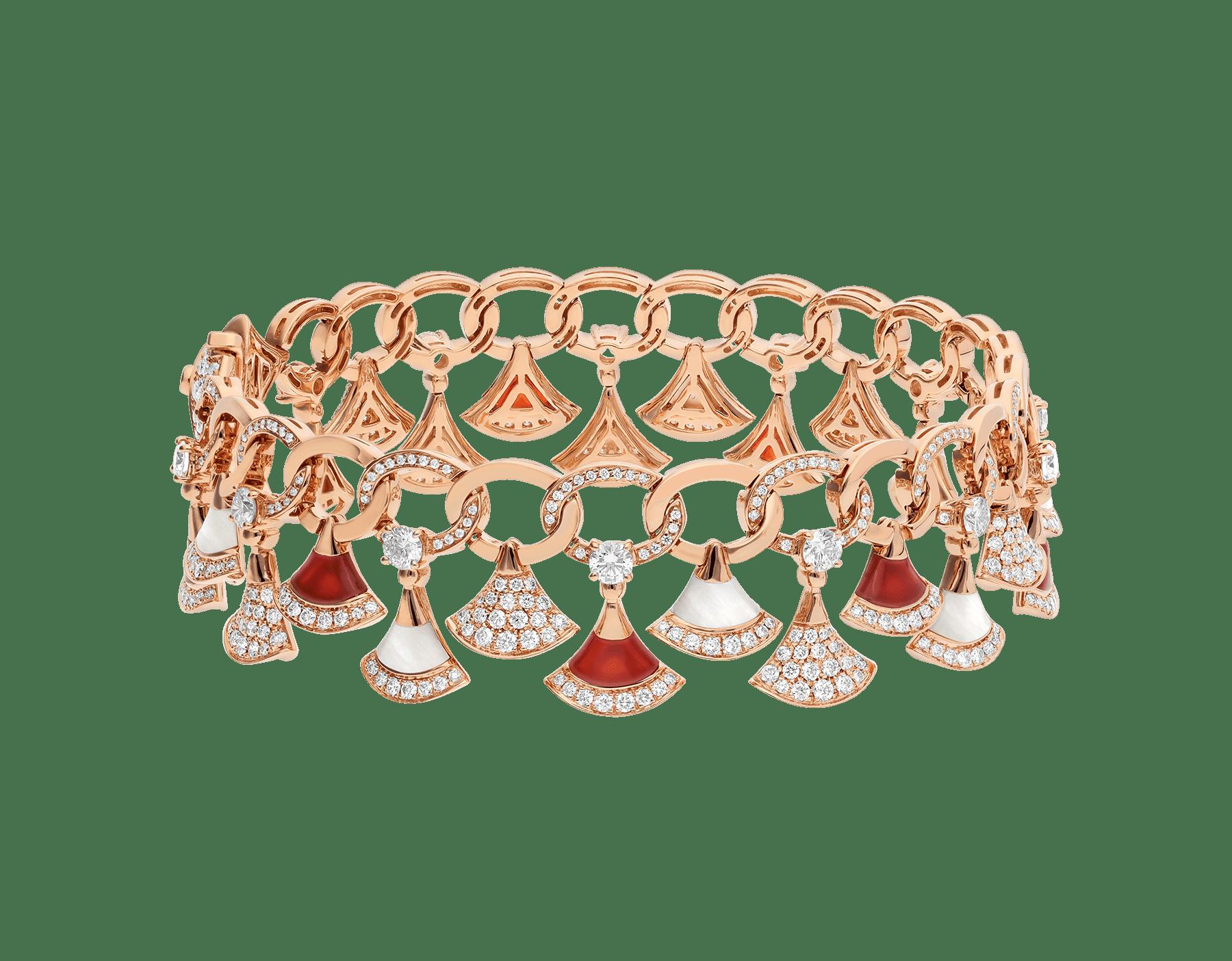 Pulsera DIVAS' DREAM en oro rosa de 18 qt con elementos de cornalina y madreperla, diamantes y pavé de diamantes (4,30 ct). BR858051 image 1