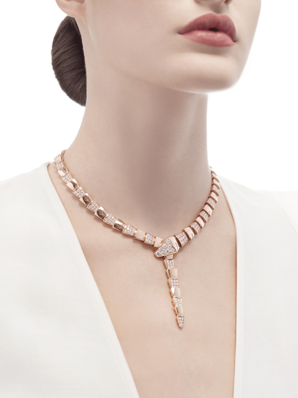 Colar Serpenti em ouro rosa 18K semicravejado com pavê de diamantes. 348166 image 2