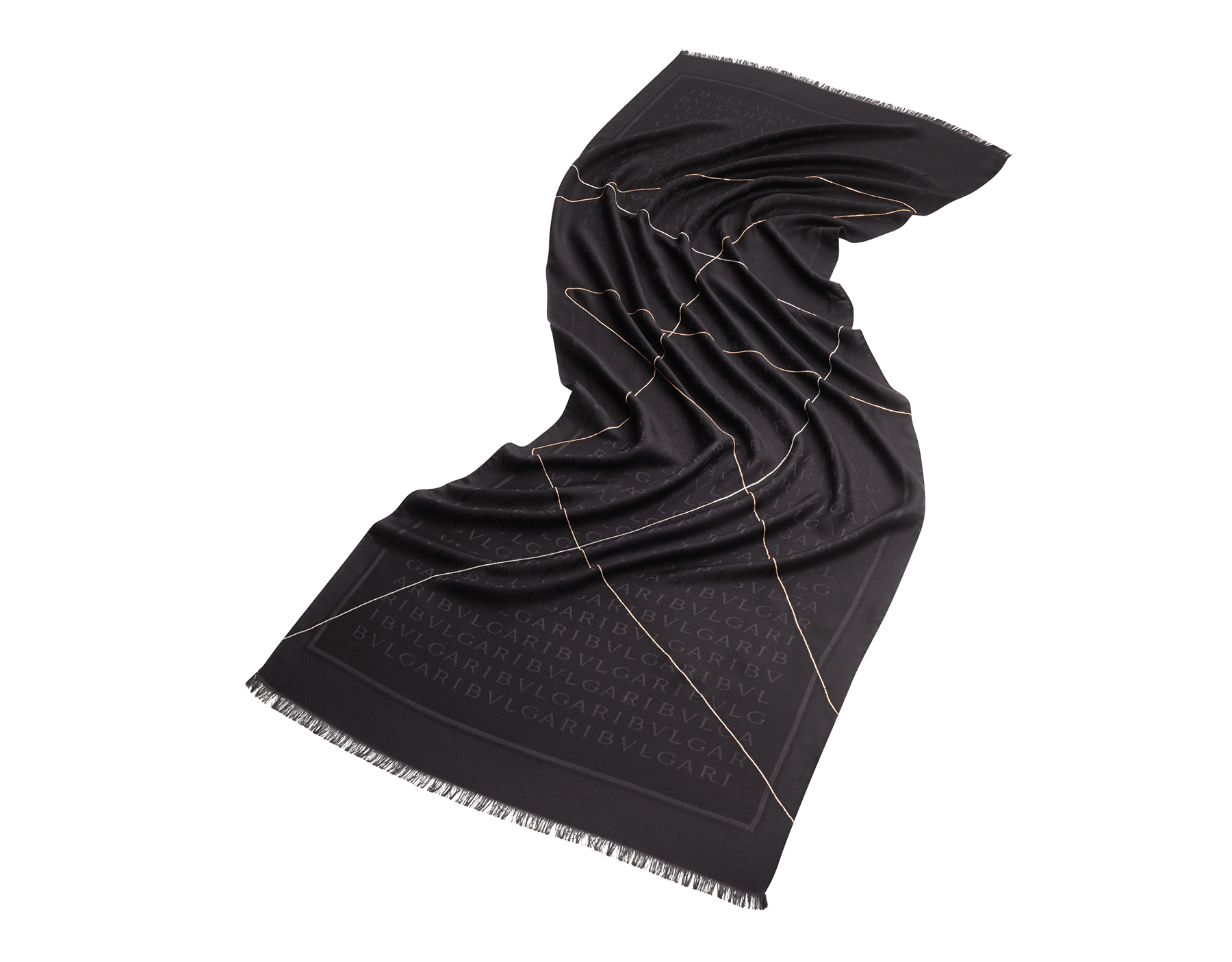 Палантин Lettere Chain черного цвета, тонкий шелк и шерсть. 243964 image 1