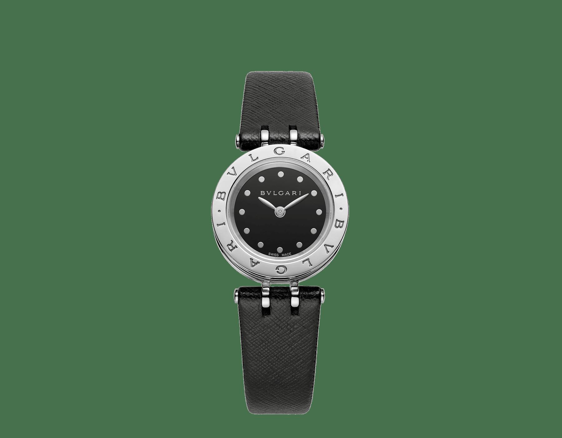 Orologio B.zero1 con cassa in acciaio inossidabile, spirale in ceramica nera quadrante laccato nero e cinturino in pelle nera. 102179 image 1