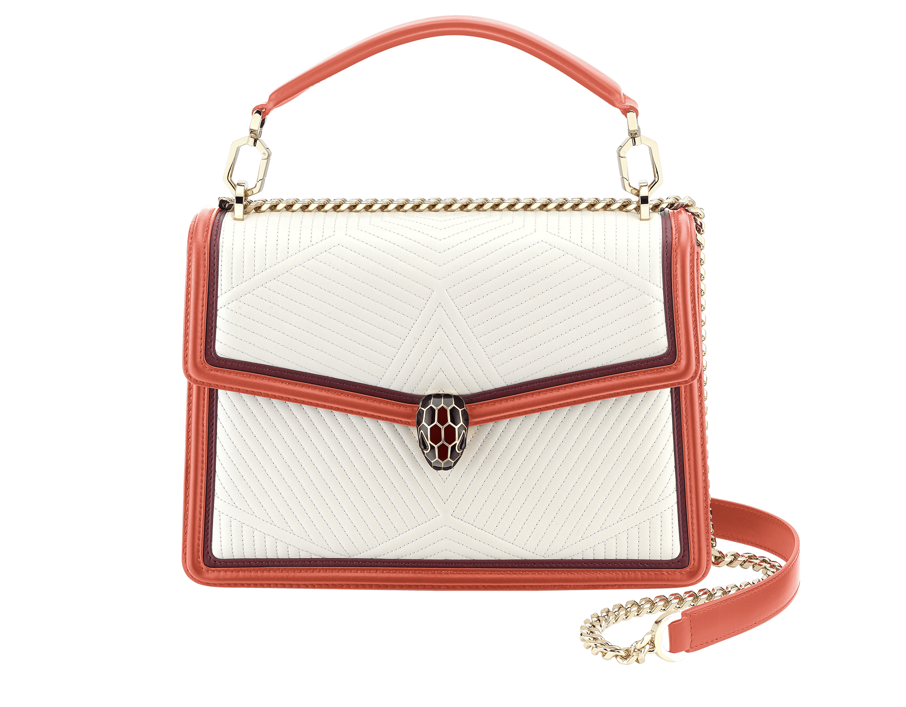 Serpenti Diamond Blast shoulder bag in white agate quilted nappa leather and imperial topaz with Roman garnet calf leather frames. Iconic snakehead closure in light gold plated brass embellished with Roman garnet and black enamel and black onyx eyes. 288840 image 2