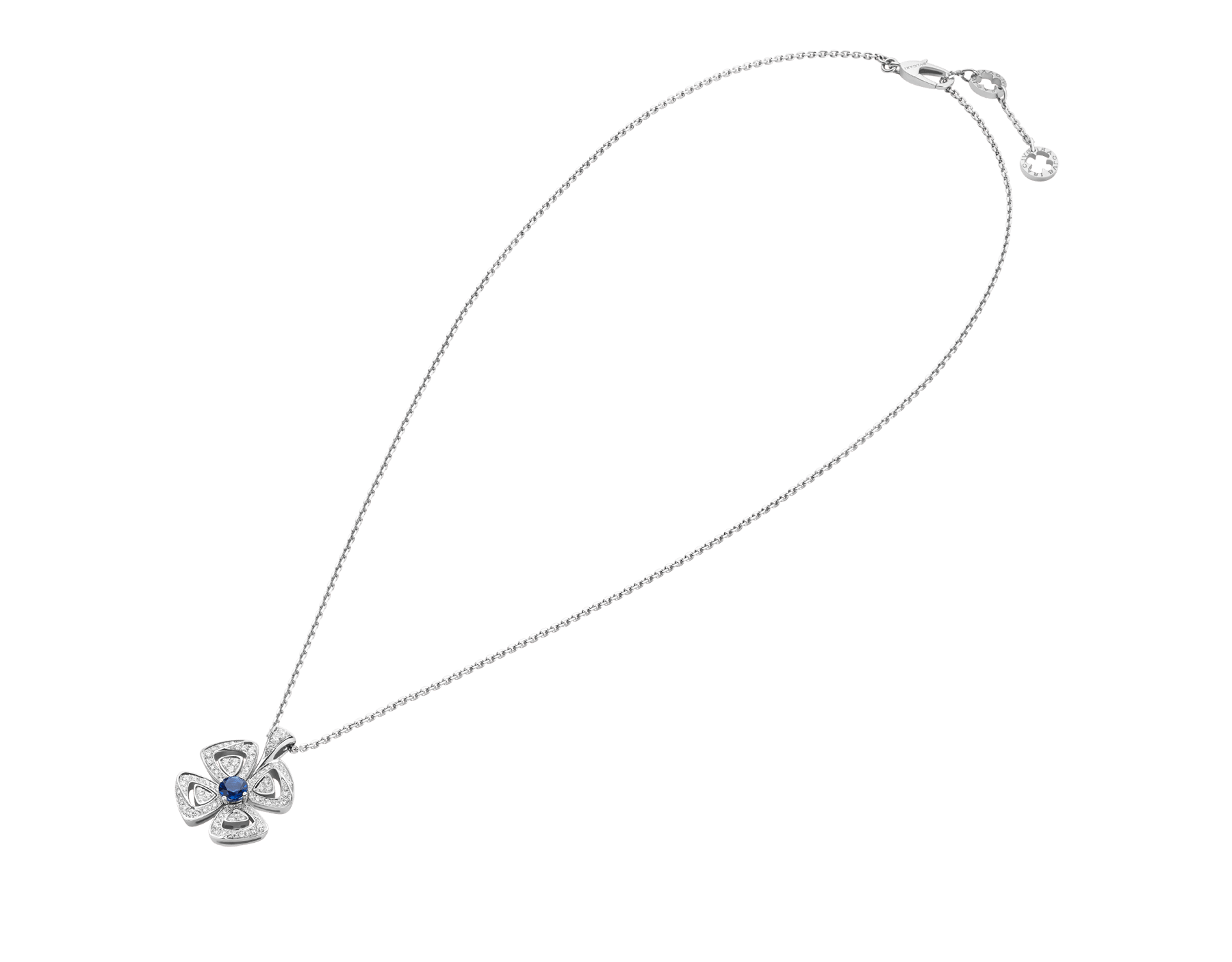 Fiorever 18 kt white gold pendant necklace set with a central brilliant-cut sapphire (0.43 ct) and pavé diamonds (0.31 ct) 358426 image 2