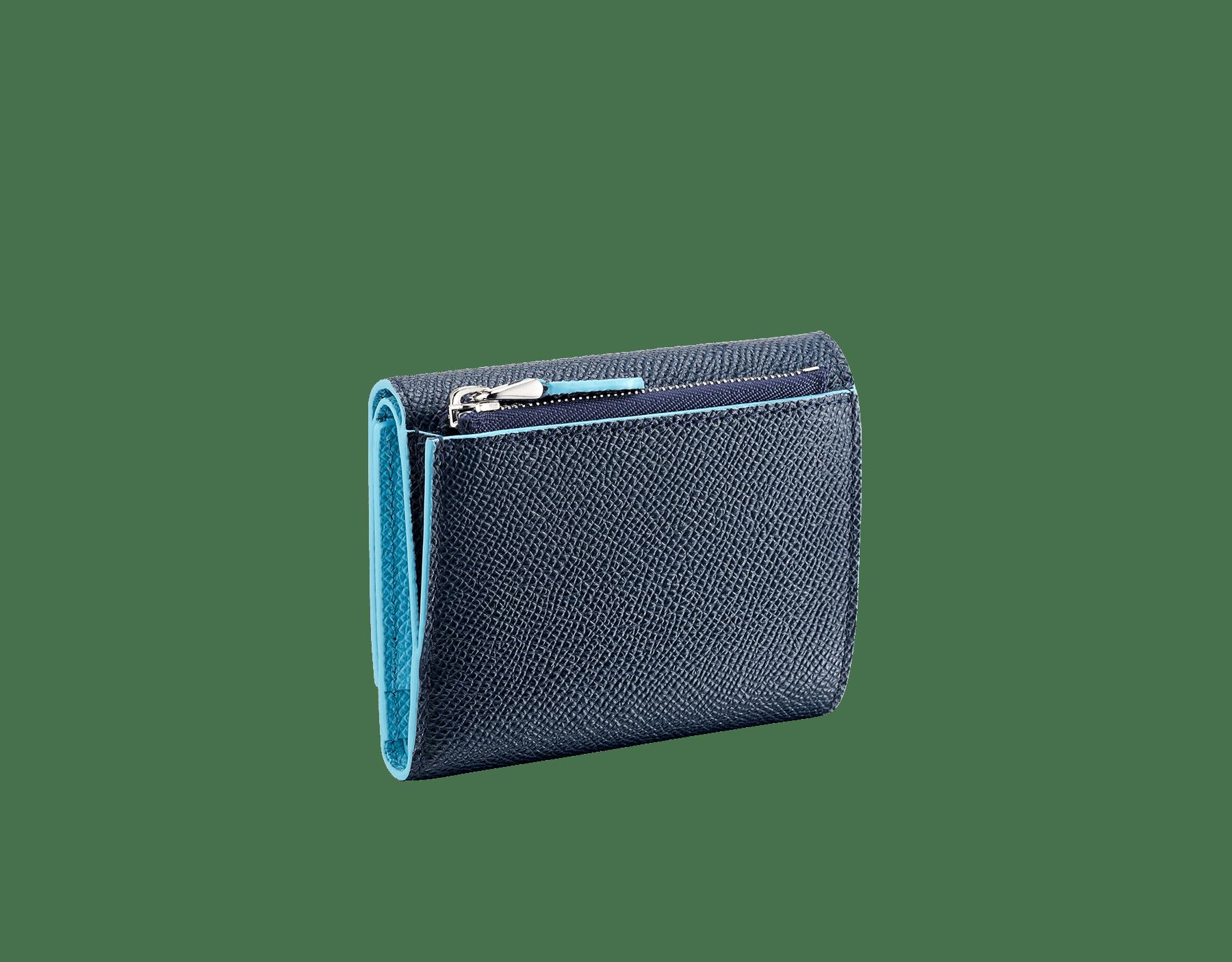 """Bvlgari Clip"" slim compact wallet in Denim Sapphire blue and Aegean Topaz light blue grained calfskin. Iconiclogo clip closure in palladium-plated brass BCM-SLIMCOMPACTa image 3"