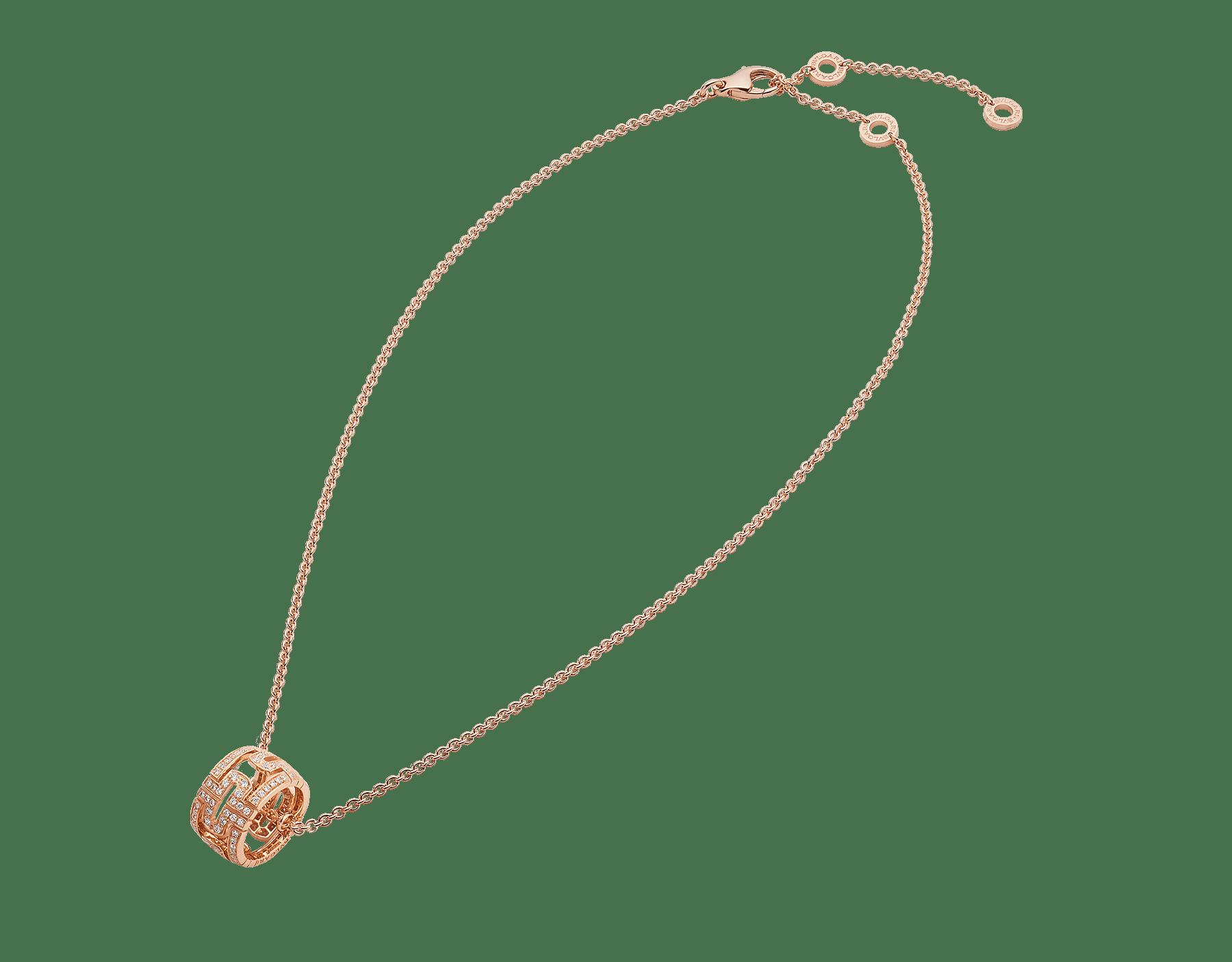 Collier Parentesi avec chaîne en or rose 18K et pendentif rond en or rose 18K pavé diamants 343471 image 2