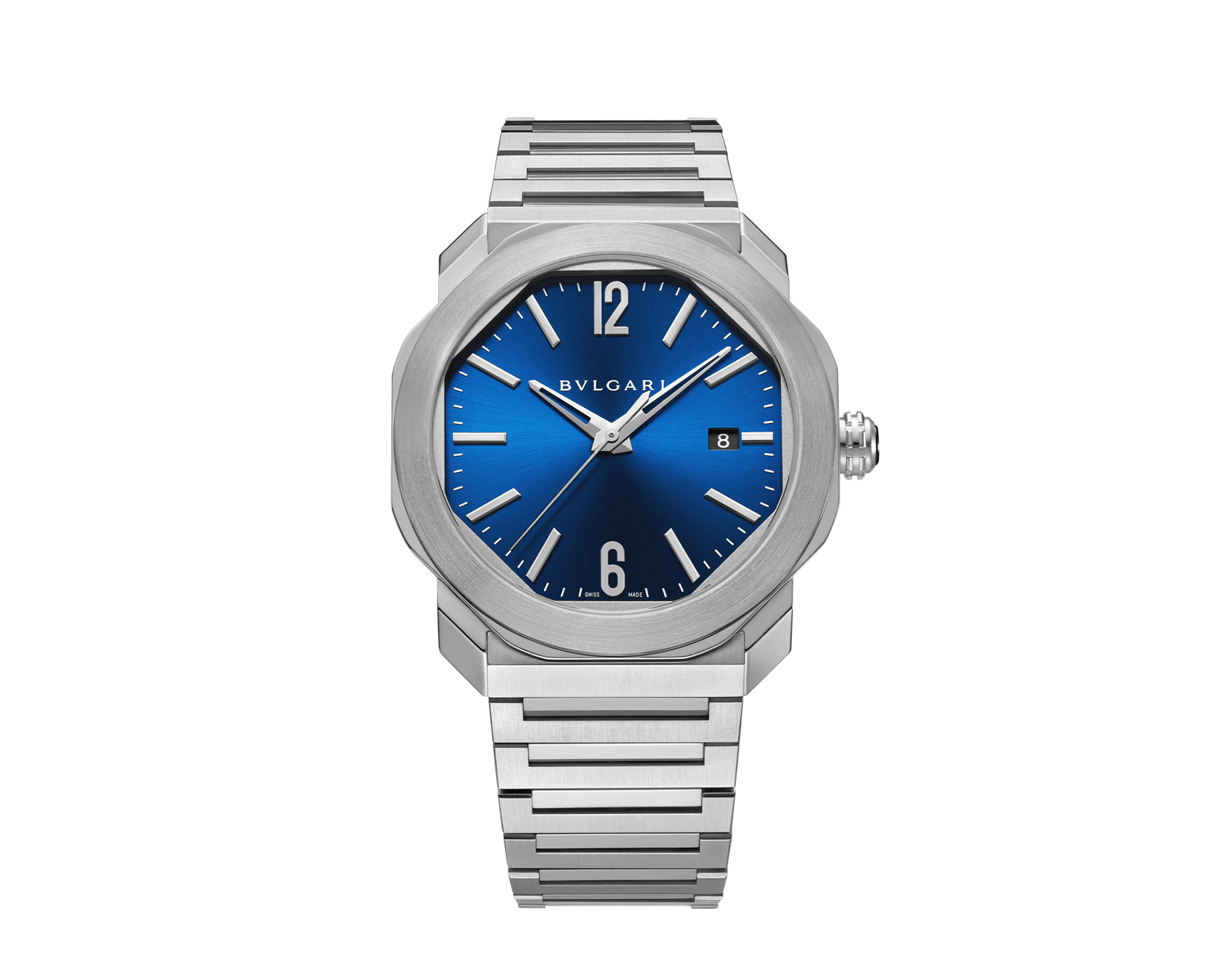 Octo Roma watch with mechanical manufacture movement, automatic winding, stainless steel case and bracelet, blue dial. 102856 image 1