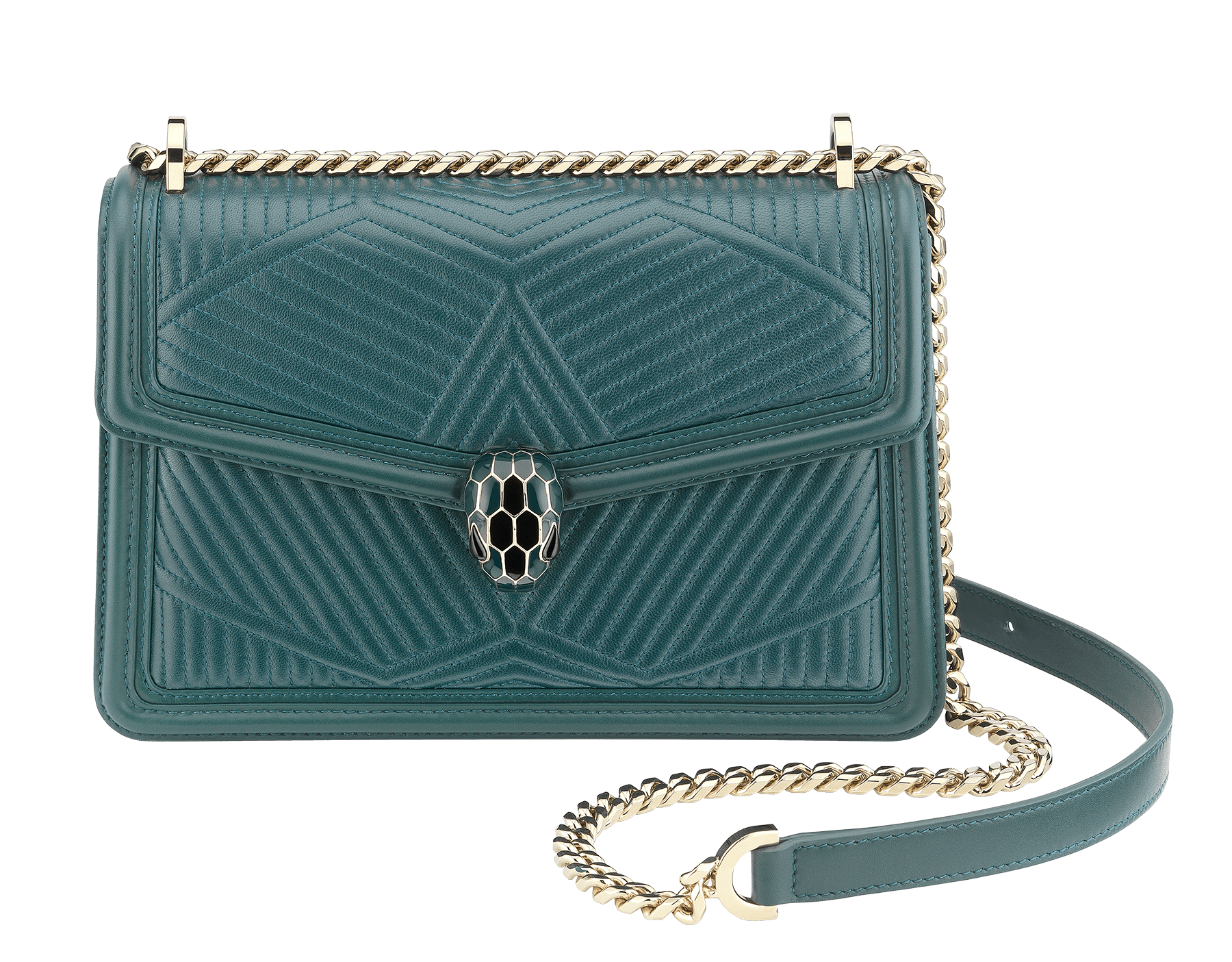 Serpenti Diamond Blast shoulder bag in forest emerald quilted nappa leather body and forest emerald calf leather frames. Snakehead closure in light gold plated brass decorated with forest emerald and black enamel, and black onyx eyes. 287850 image 1