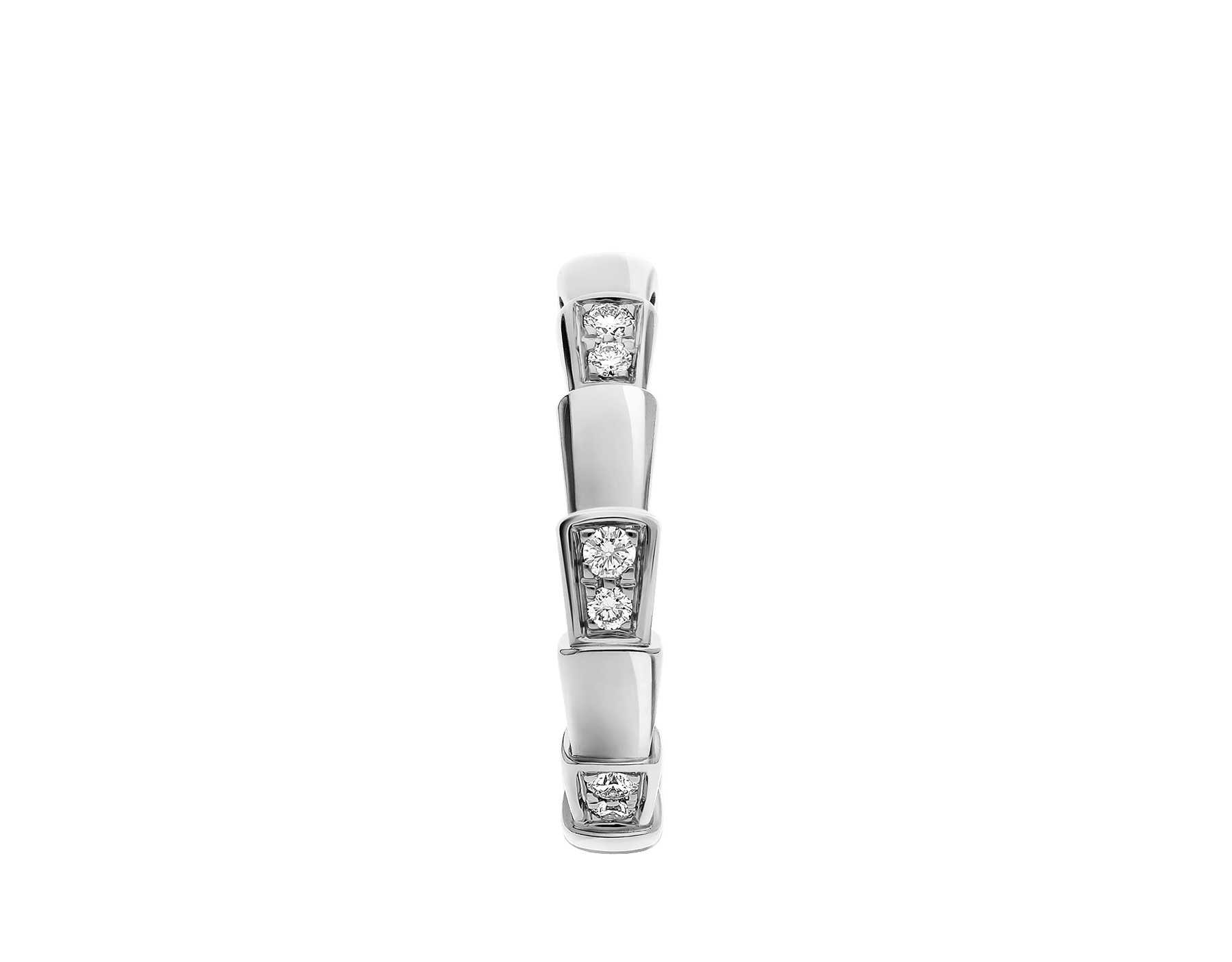 Serpenti Viper band ring in 18 kt white gold, set with demi-pavé diamonds. AN857898 image 2