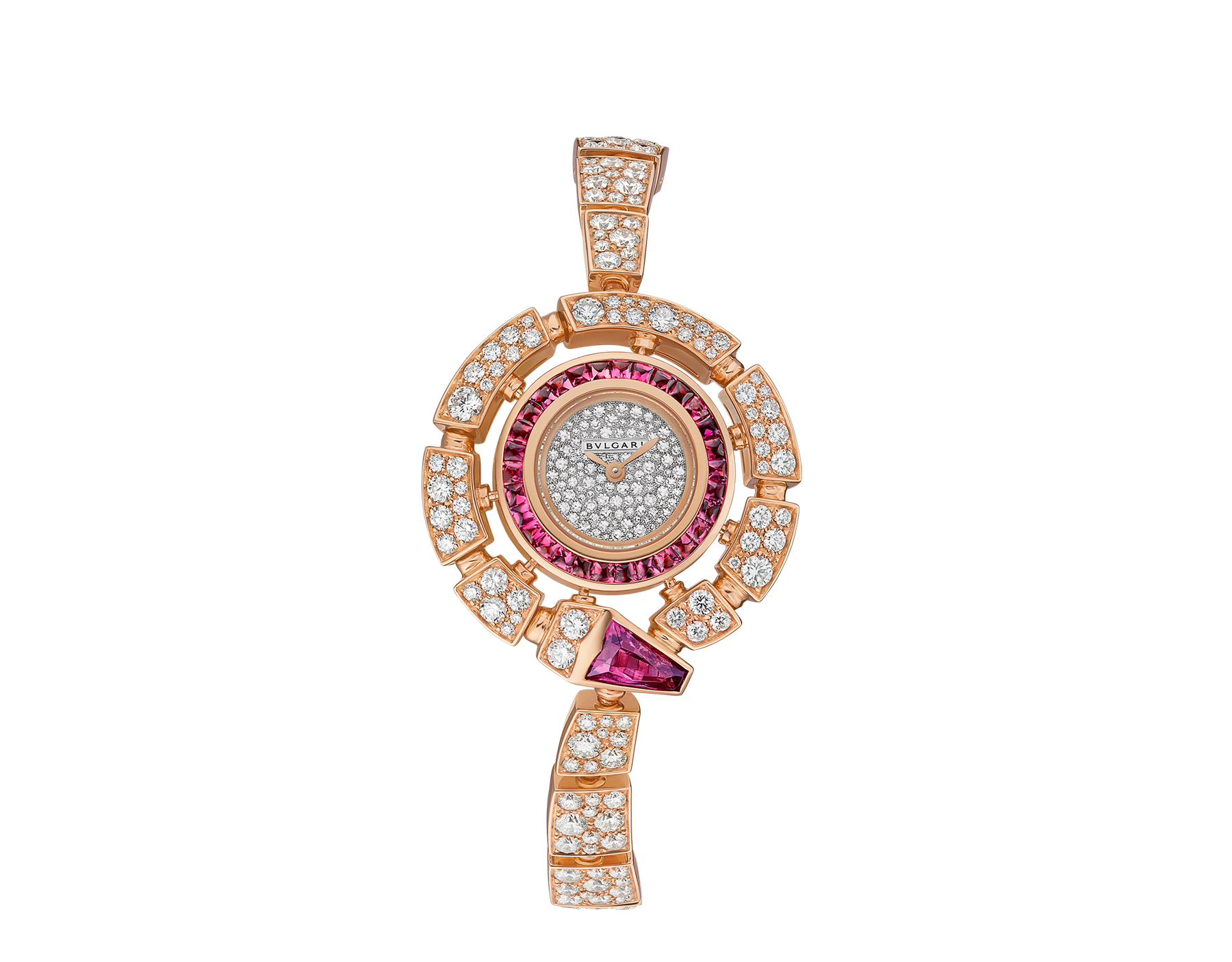 Montre Serpenti Incantati avec boîtier de 30 mm en or rose 18 K serti de diamants taille brillant et rubellites, cadran pavé diamants en serti « neige », bracelet en or rose 18 K serti de diamants taille brillant. 102536 image 1