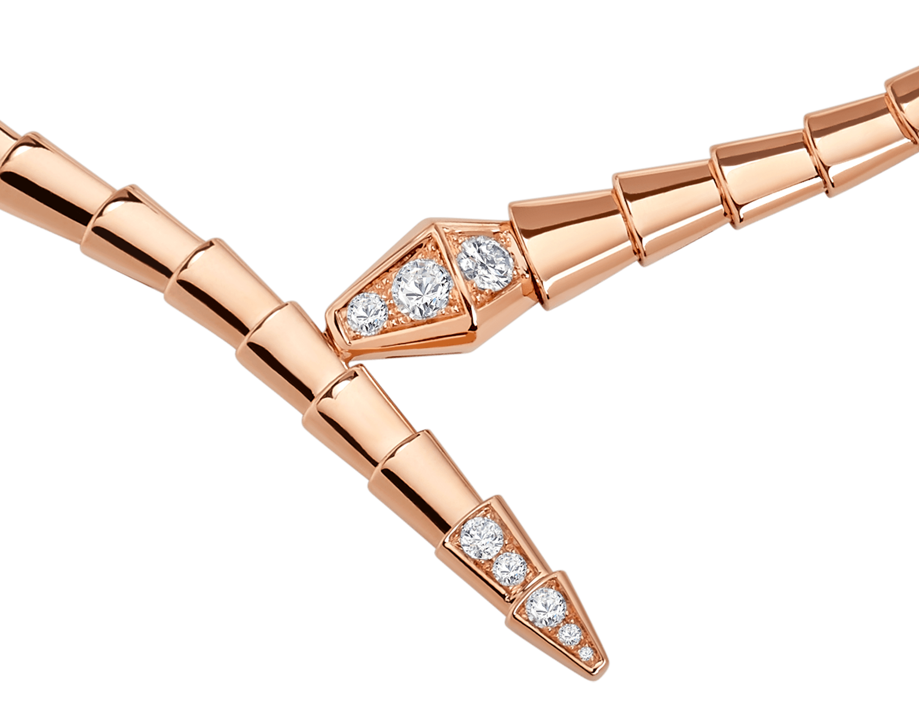 Serpenti Viper 18 kt rose gold necklace, set with demi-pavé diamonds CL858905 image 2