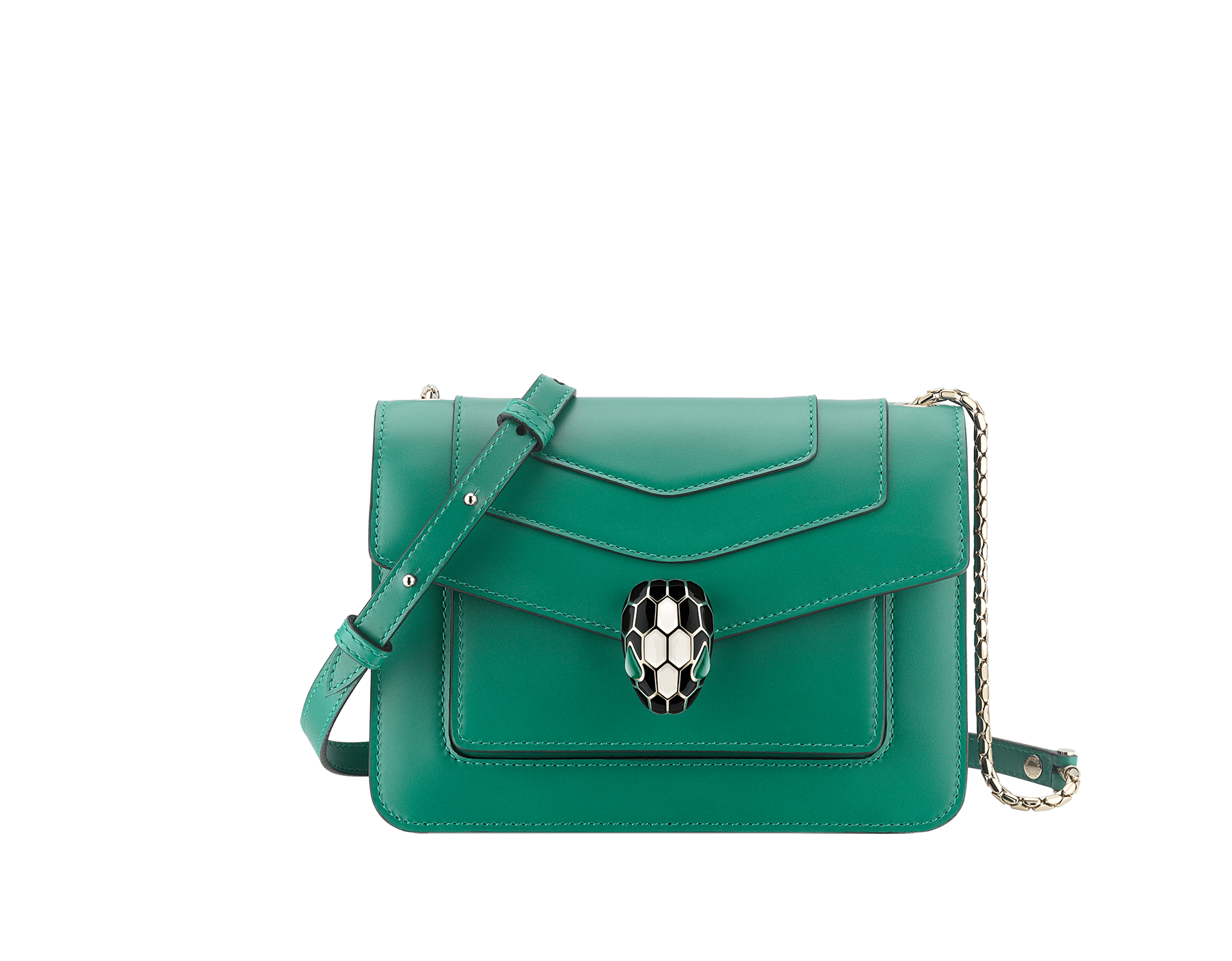 """Serpenti Forever"" crossbody bag in emerald green calf leather. Iconic snake head closure in light gold-plated brass enhanced with black and white agate enamel and green malachite eyes. 1082-CLa image 1"
