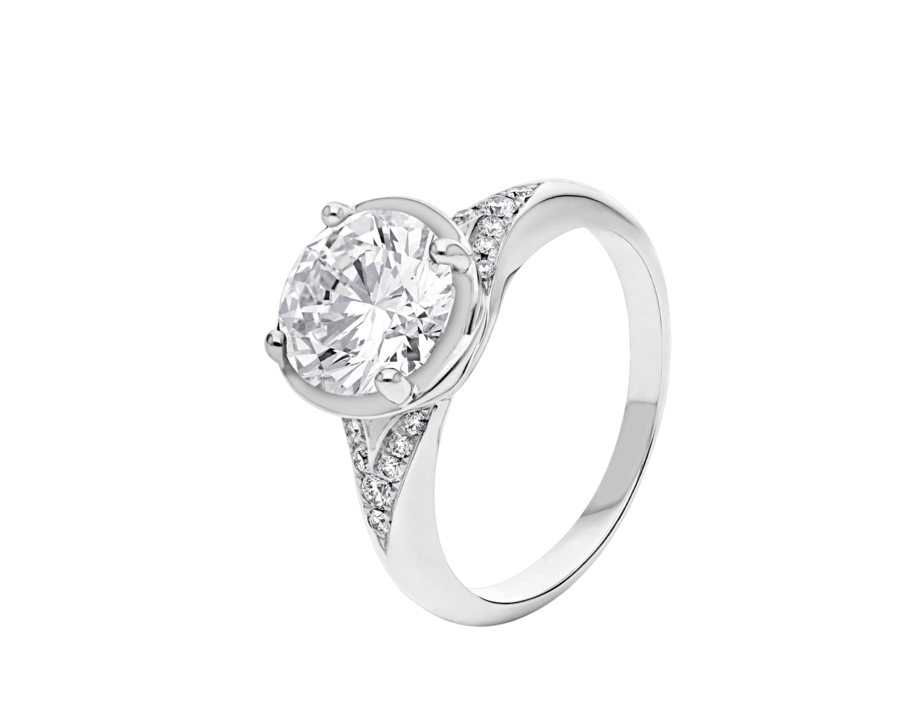 Incontro d'Amore ring in platinum with round brilliant-cut diamond and pavé diamonds. Available from 0.20 ct. As its pavé rows embrace a diamond apex, Incontro d'Amore joins two hearts as one. 355808 image 1